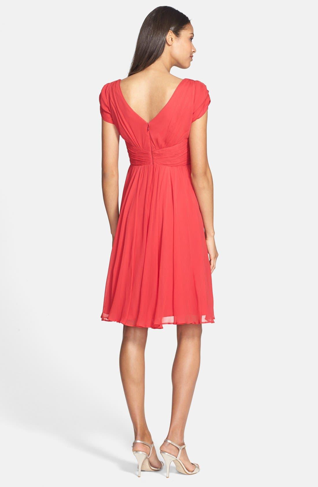 Alternate Image 2  - Ivy & Blu Front Knot Chiffon Dress (Petite)