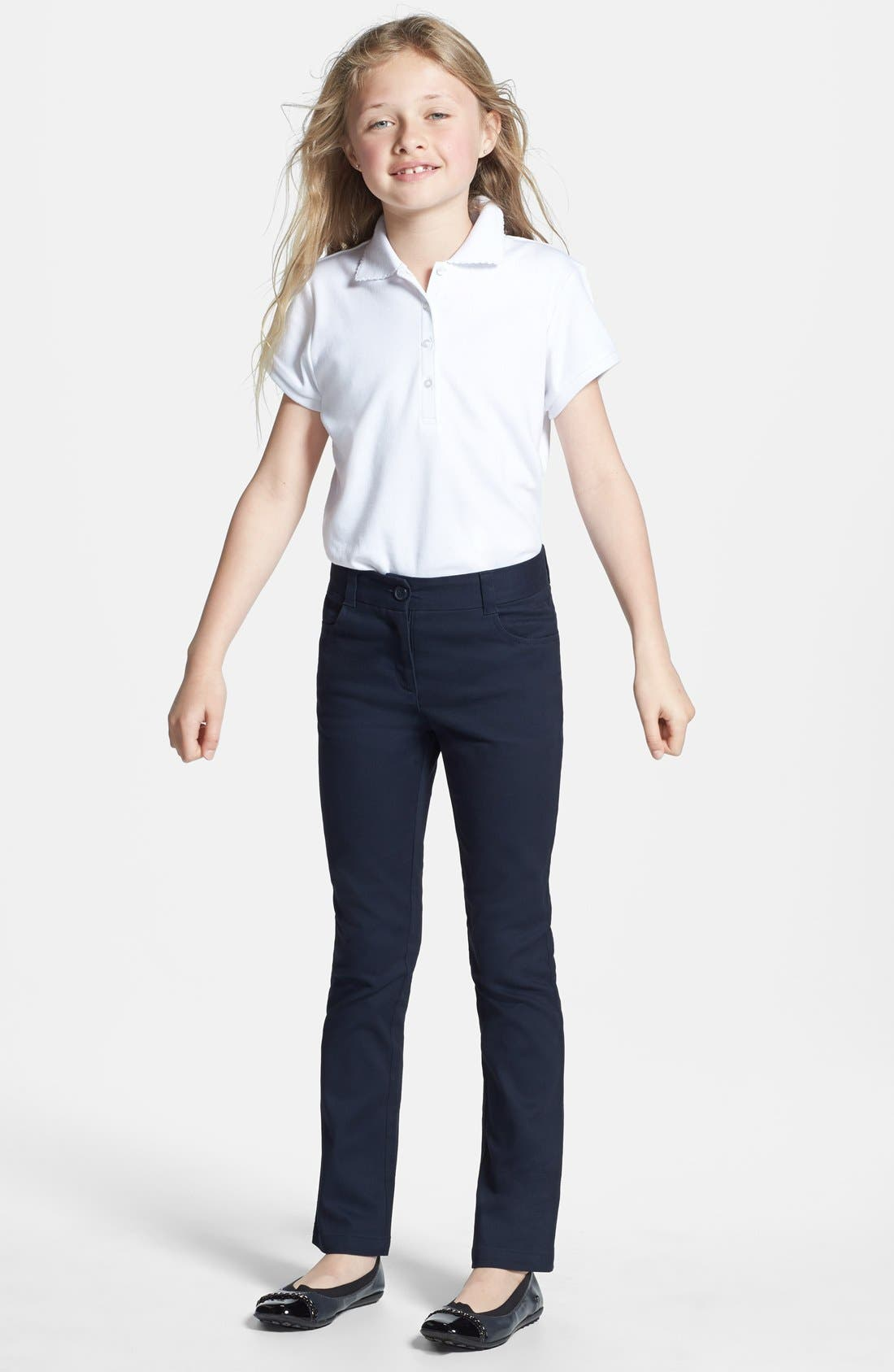 Alternate Image 4  - Nordstrom Straight Fit Stretch Cotton Pants (Little Girls & Big Girls) (Online Only)