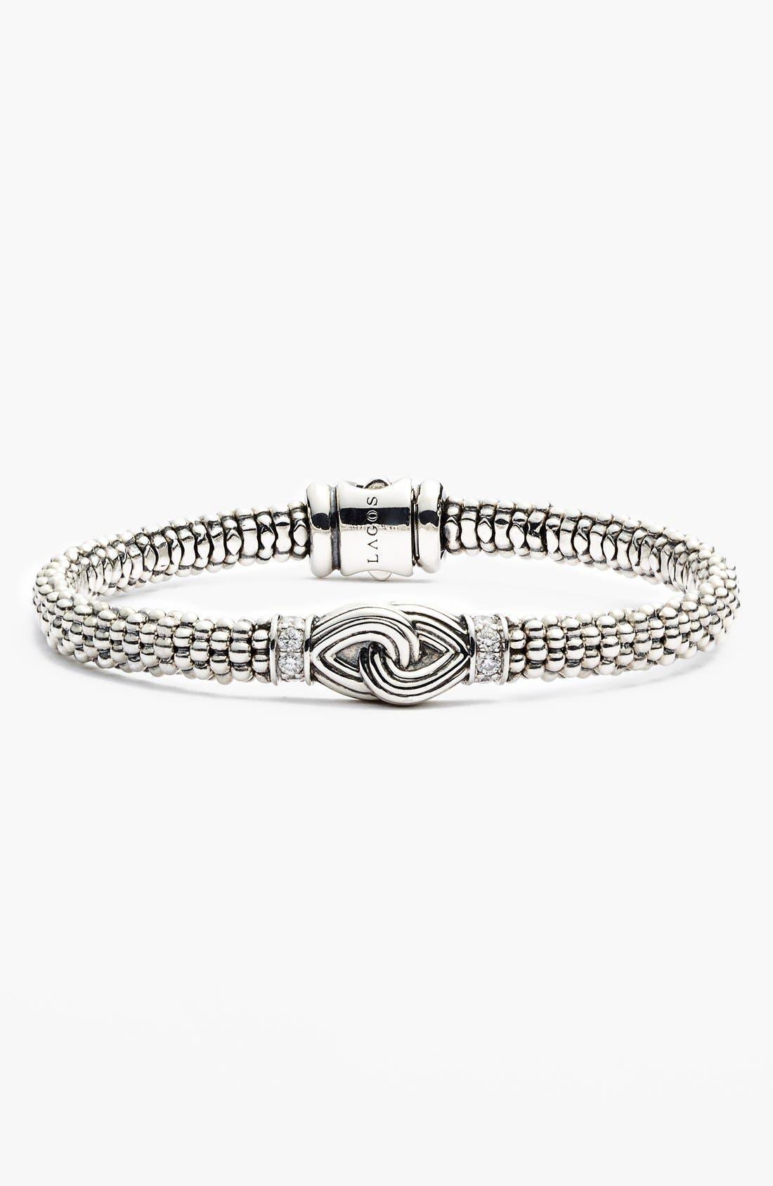 Alternate Image 1 Selected - LAGOS 'Silver Knot' Diamond & Caviar Station Bracelet (Nordstrom Online Exclusive)