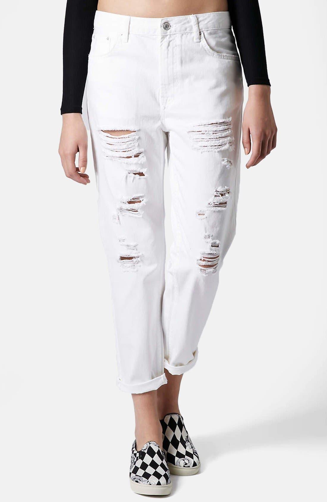 Alternate Image 1  - Topshop Moto 'Hayden' Destroyed Boyfriend Jeans (White)
