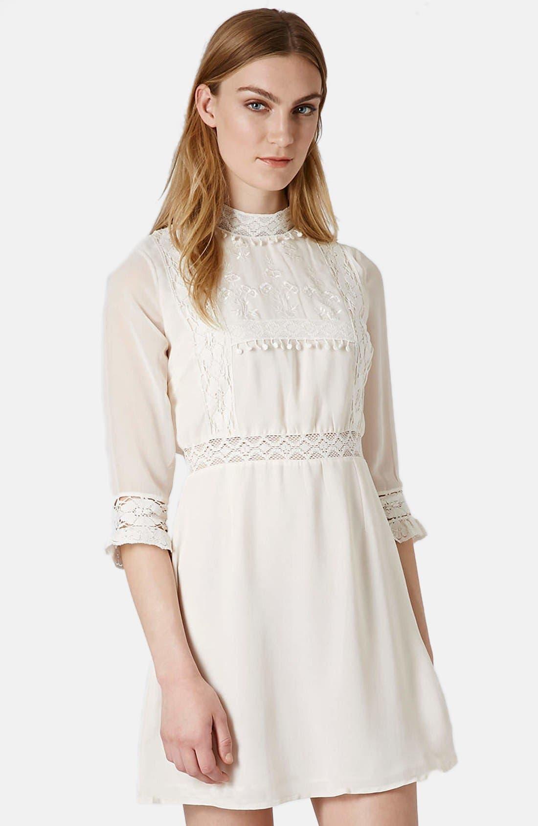 Alternate Image 1 Selected - Topshop 'Victorina' Lace Detail Dress