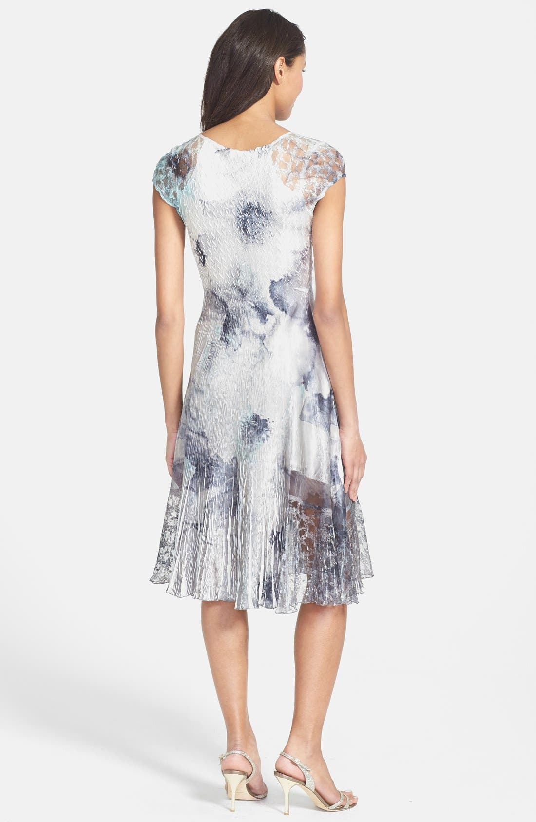Alternate Image 2  - Komarov Print Charmeuse & Chiffon A-Line Dress