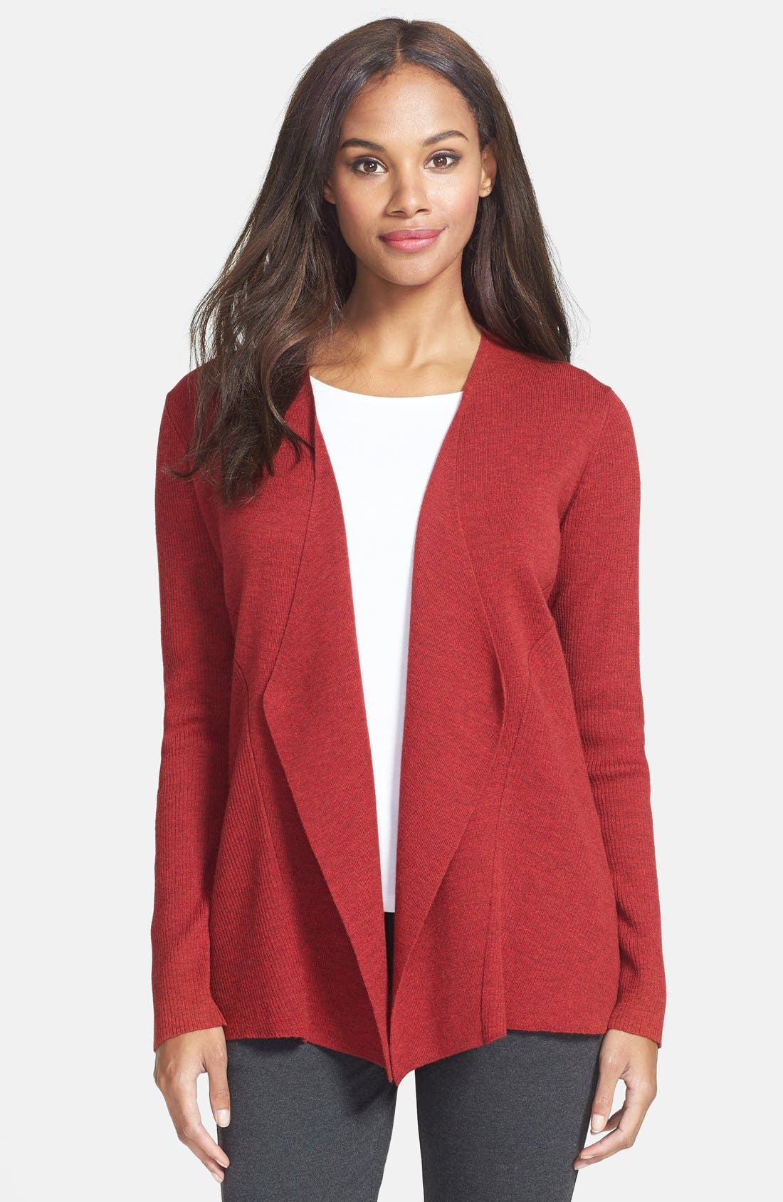 Main Image - Eileen Fisher Angled Front Shaped Cardigan (Regular & Petite)
