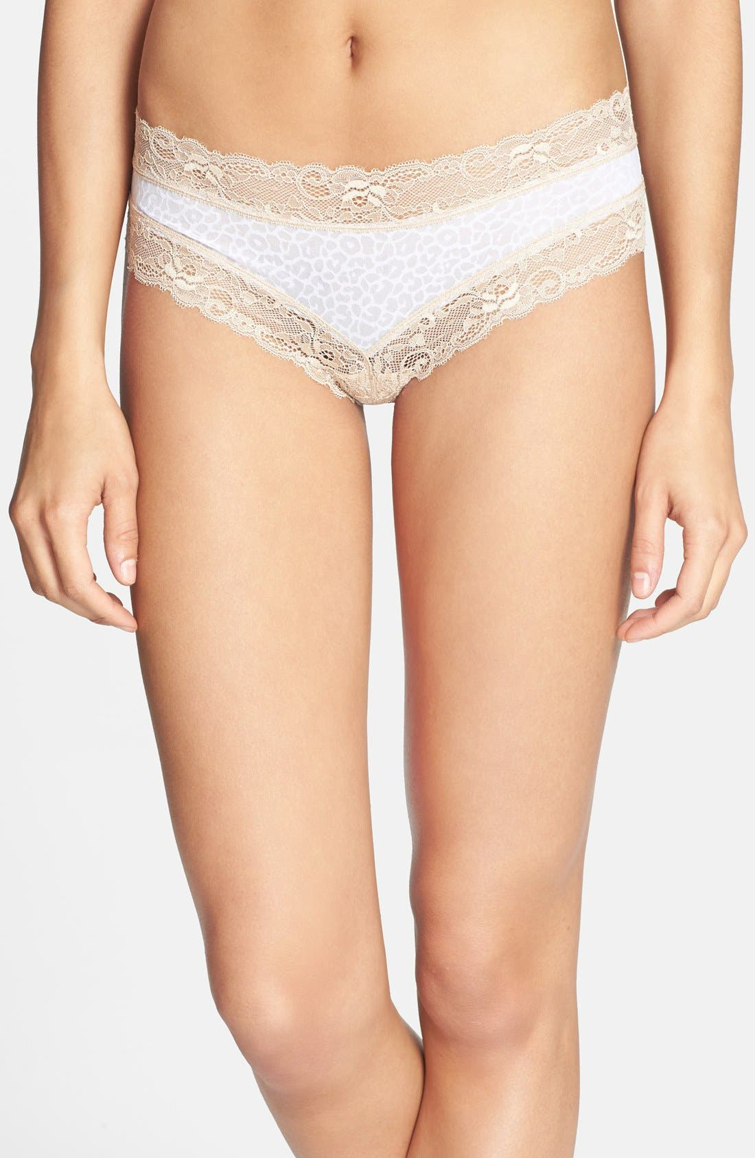 Alternate Image 1 Selected - Honeydew Intimates 'Marti' Lace Trim Microfiber Hipster Briefs