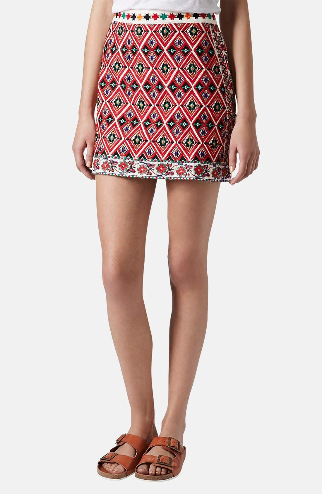 Alternate Image 1 Selected - Topshop Embroidered A-Line Skirt