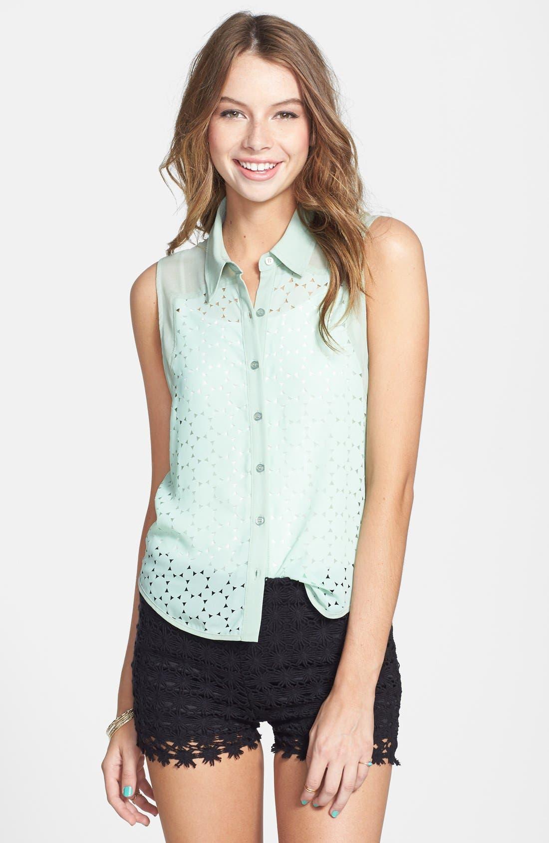 Main Image - Lush Cutout Laser Lace Shirt (Juniors)