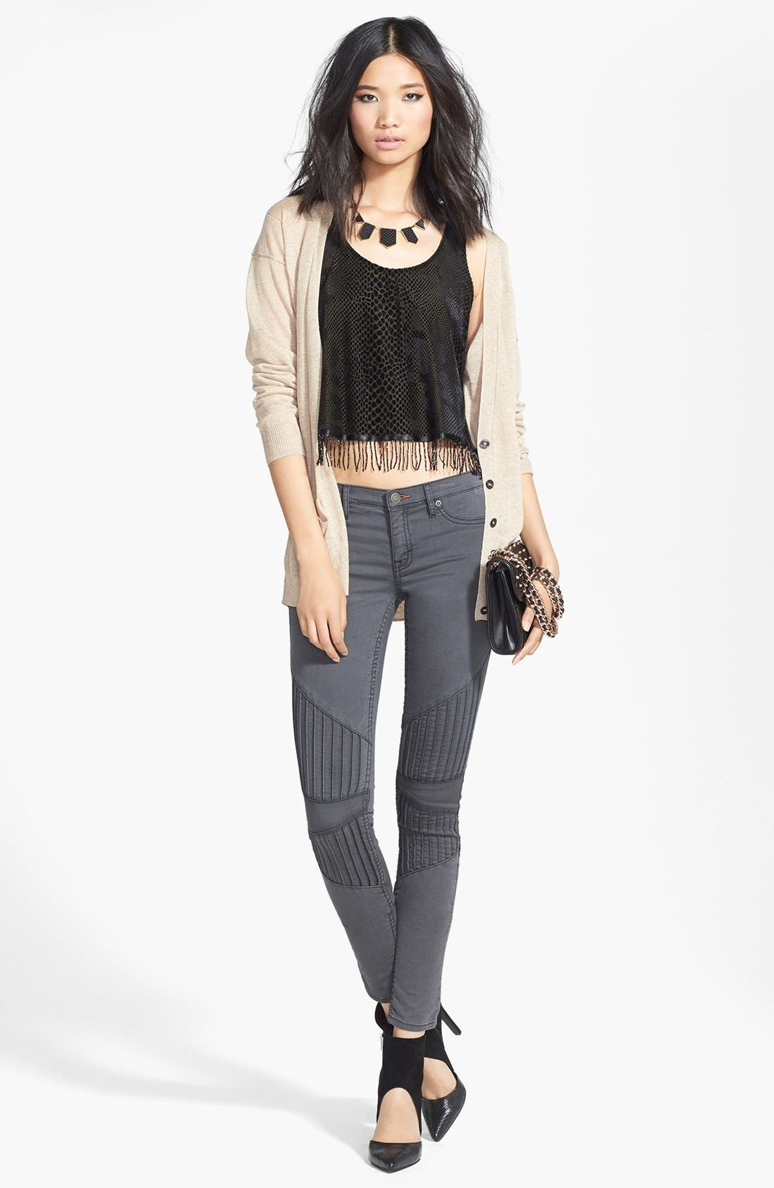 Alternate Image 4  - Dittos Seamed Moto Skinny Jeans (Grey Black Doheny)