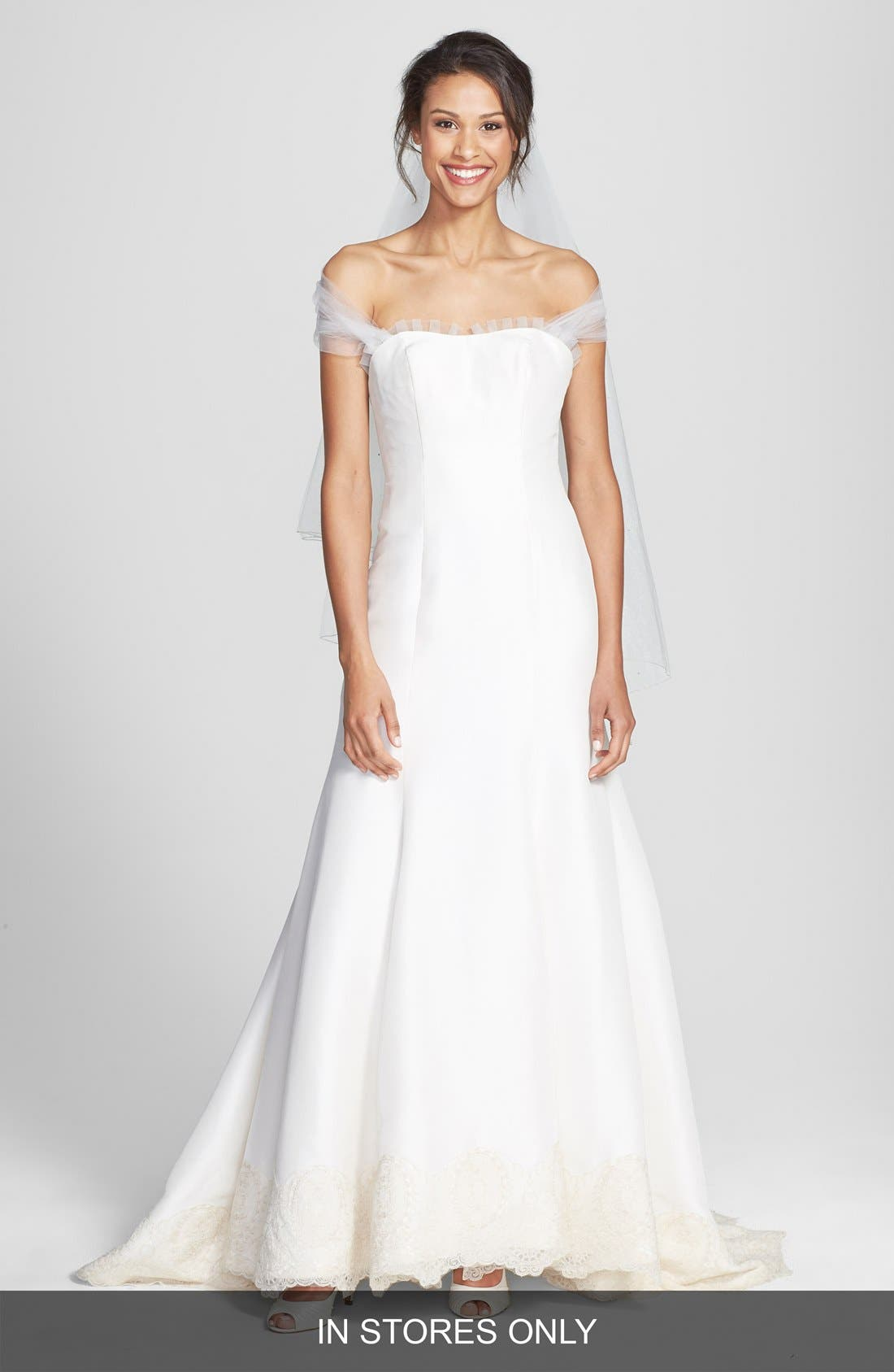 Main Image - Olia Zavozina 'Savannah' Removable Illusion Halter Lace Trim Silk Shantung Gown (In Stores Only)