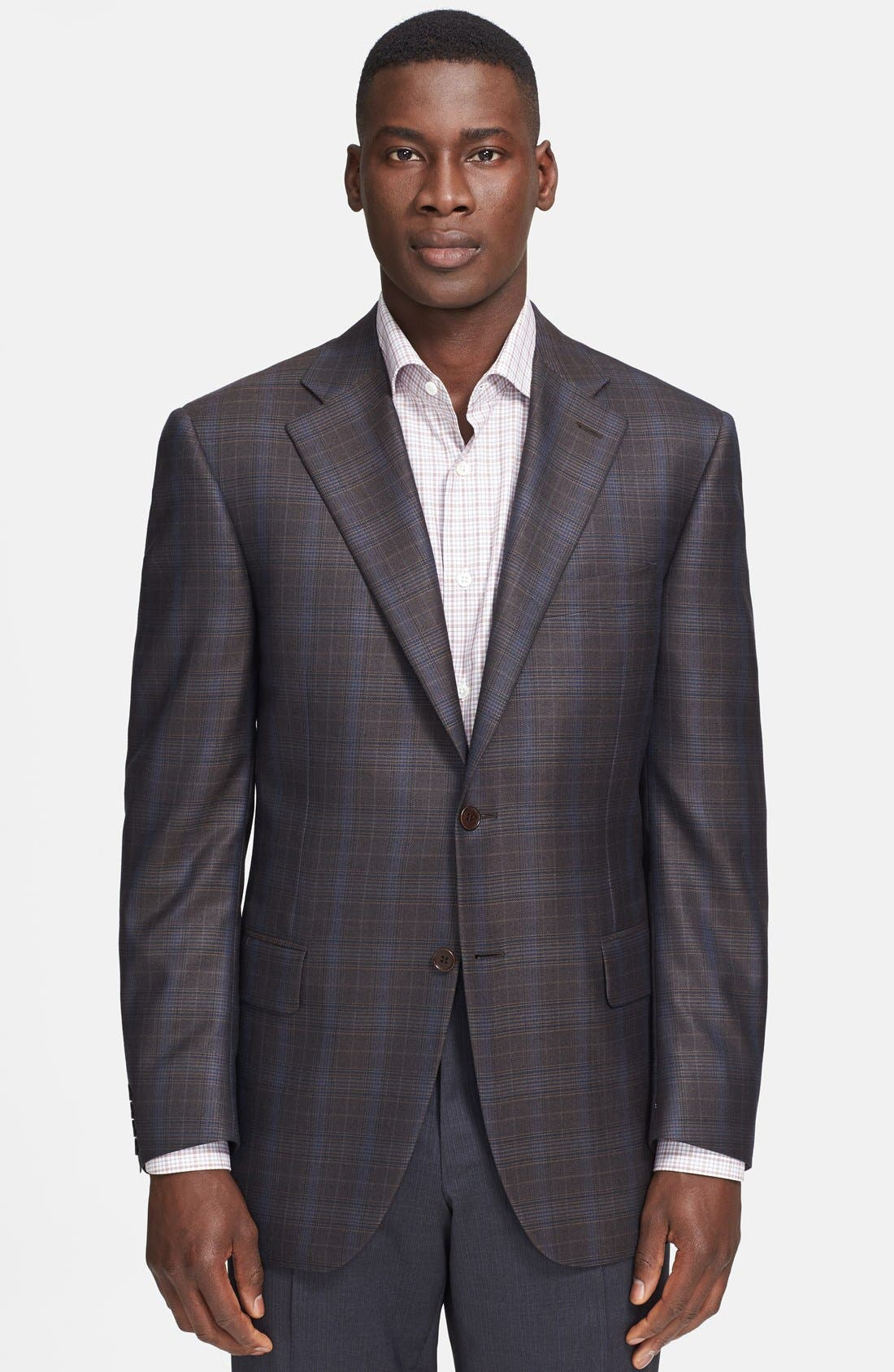 Alternate Image 1 Selected - Canali Classic Fit Brown Plaid Sport Coat