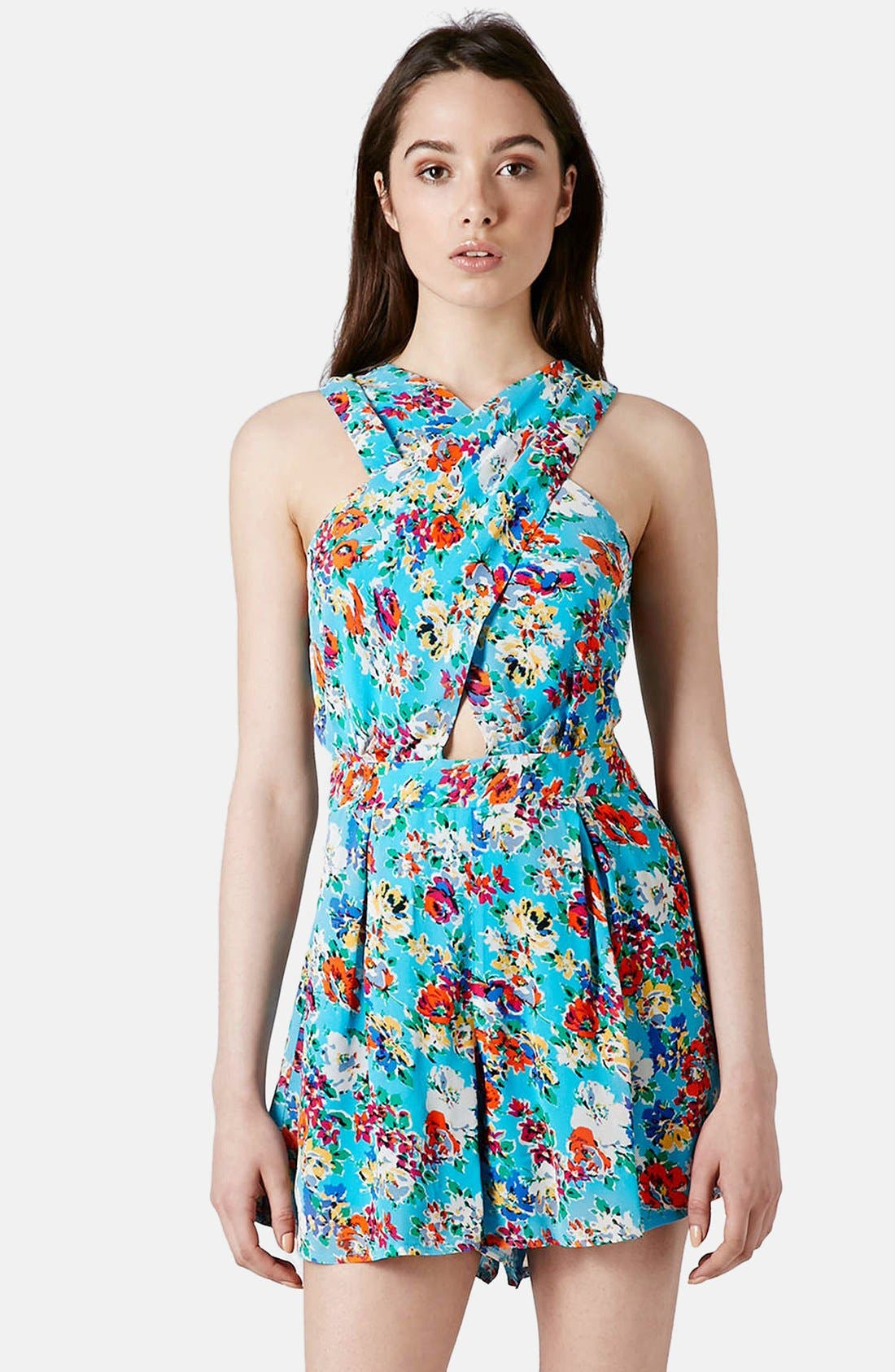 Main Image - Topshop Floral Print Crossover Romper