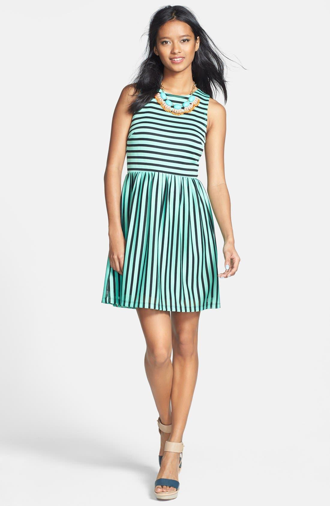 Main Image - Everly Stripe Skater Dress (Juniors)