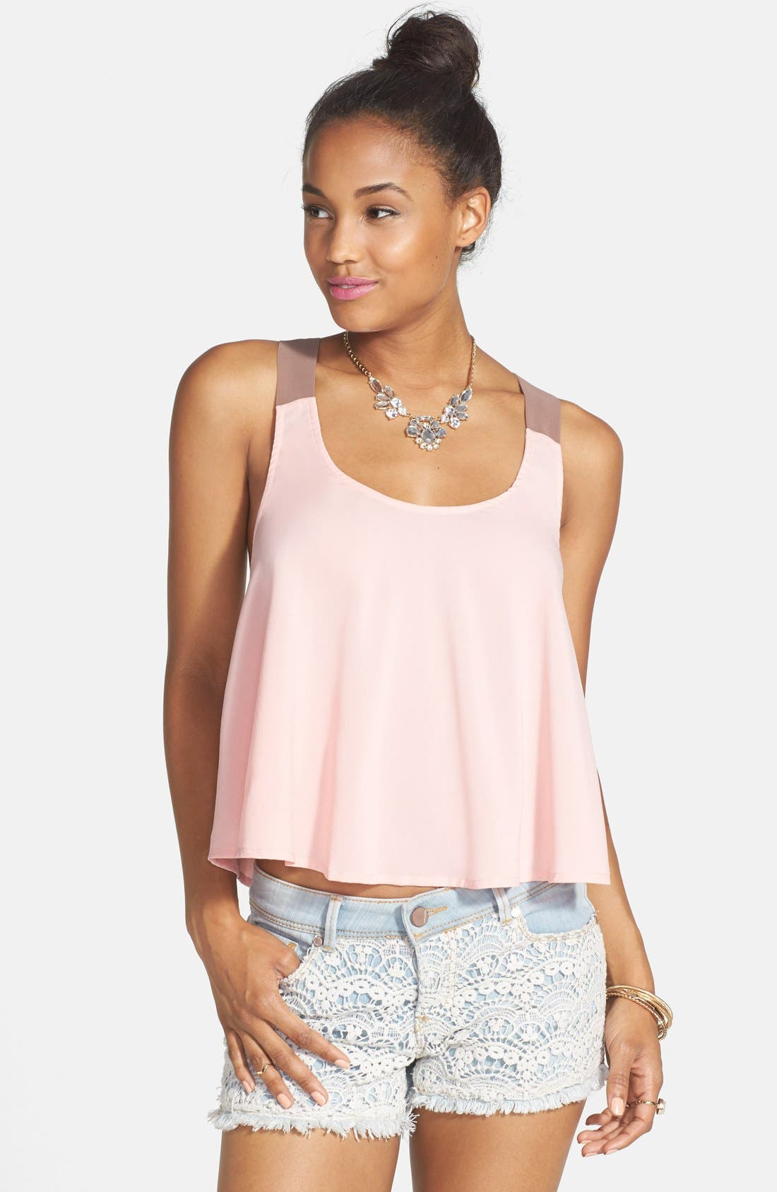 Alternate Image 1 Selected - Mimi Chica Bow Back Tank (Juniors)