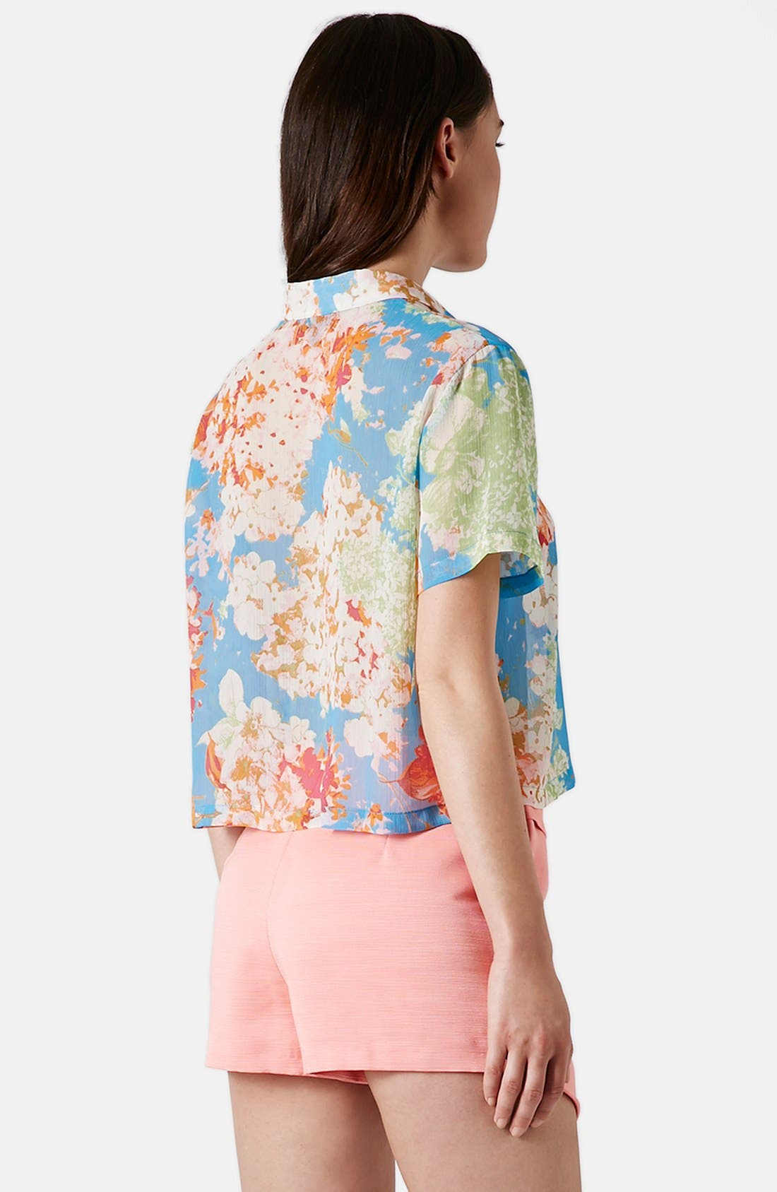 Alternate Image 2  - Topshop 'Zoe' Floral Print Short Sleeve Blouse