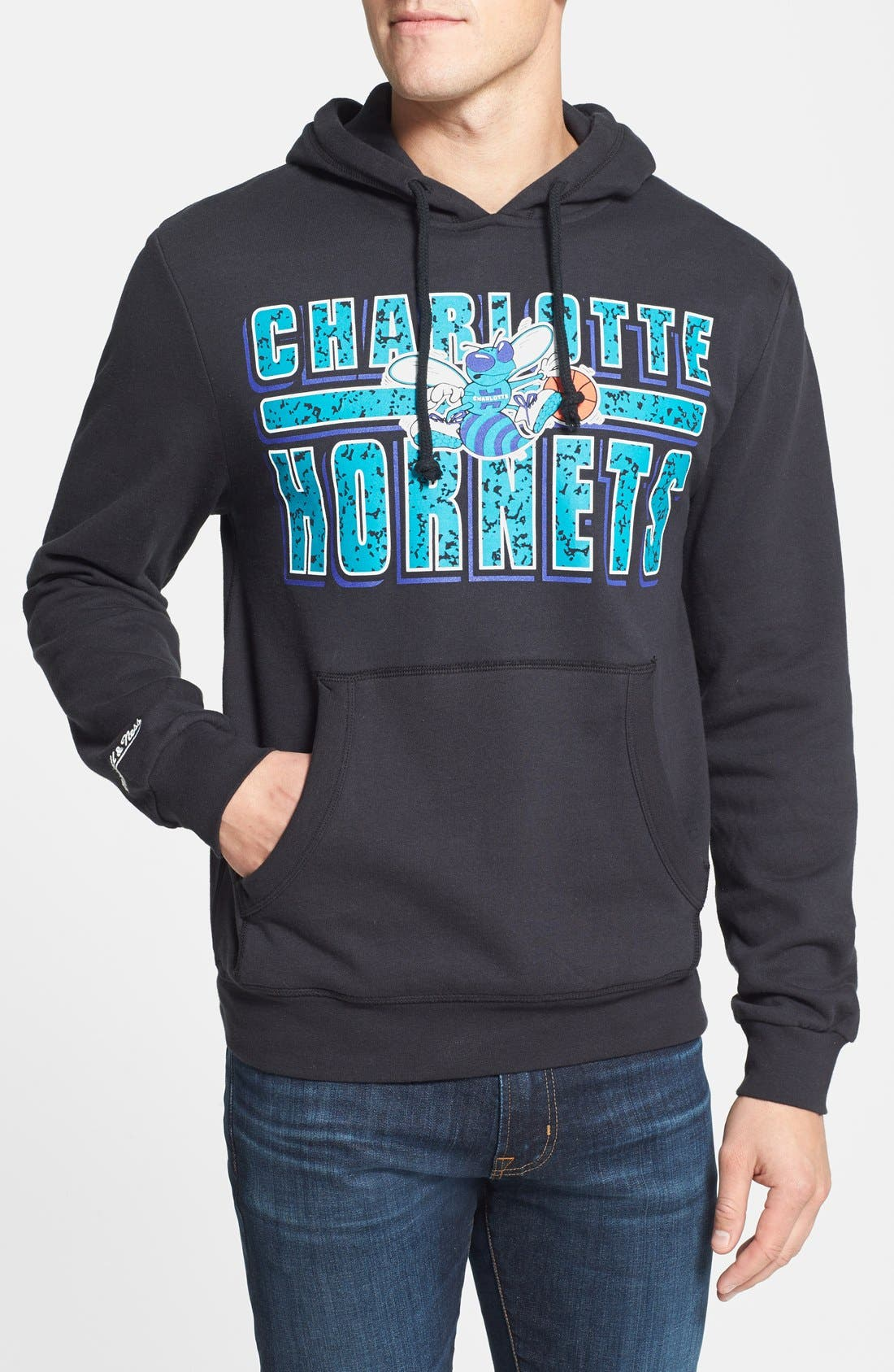 Alternate Image 1 Selected - Mitchell & Ness 'Charlotte Hornets - Bold Block' Tailored Fit Hoodie