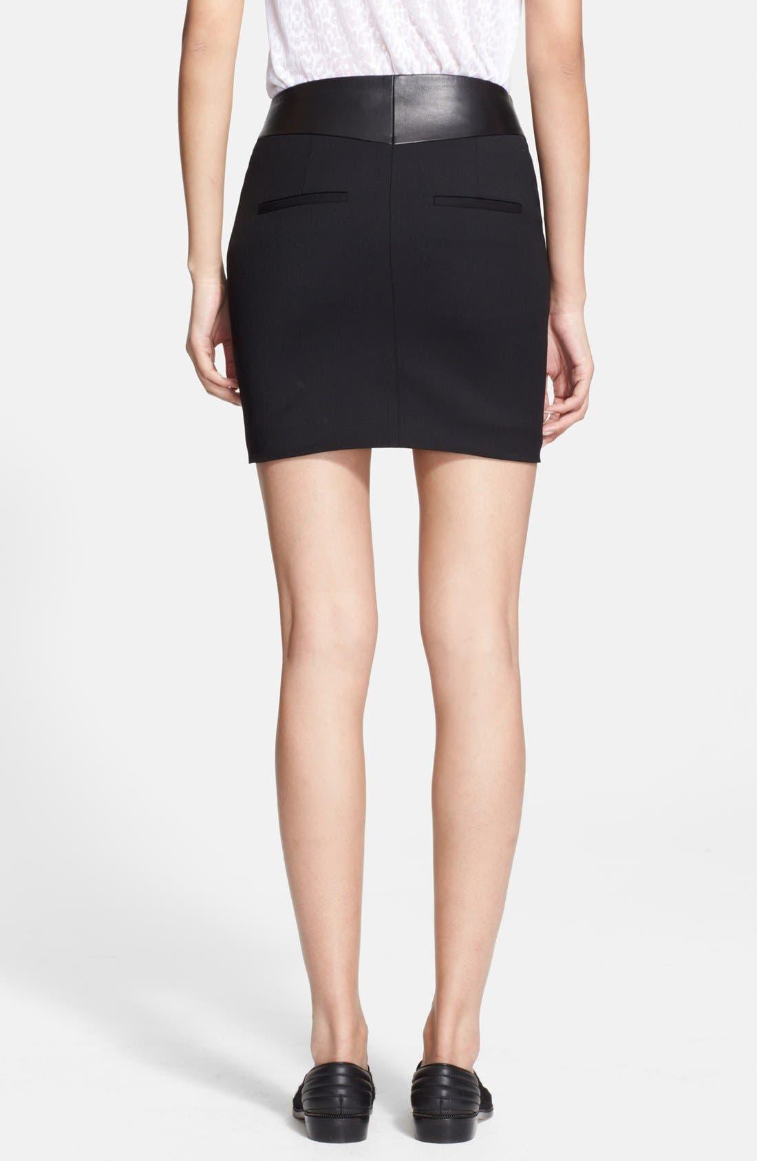 Alternate Image 2  - The Kooples Leather Yoke Zip Detail Miniskirt