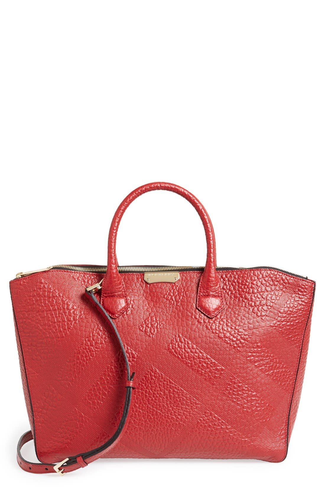Main Image - Burberry 'Medium Dewsbury' Check Embossed Leather Tote