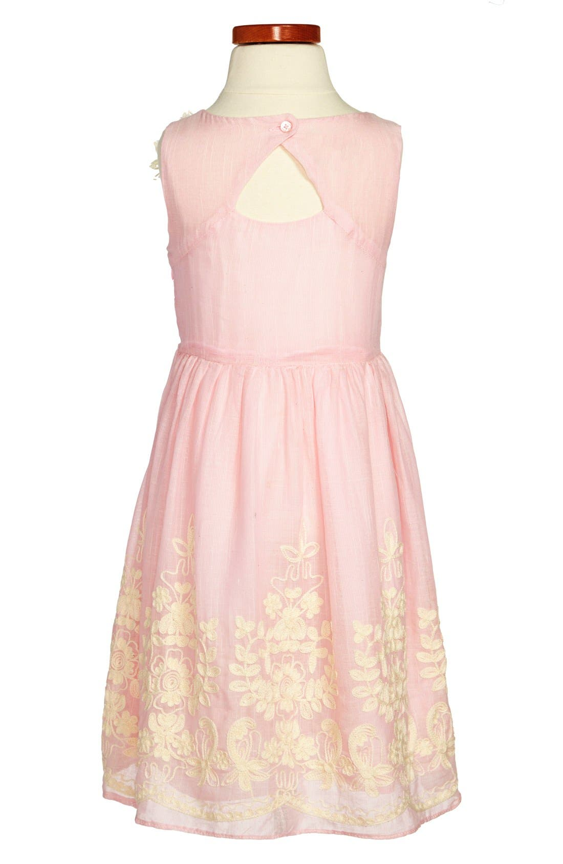 Alternate Image 2  - Pippa & Julie Embroidered Cotton Voile Dress (Toddler Girls & Little Girls)