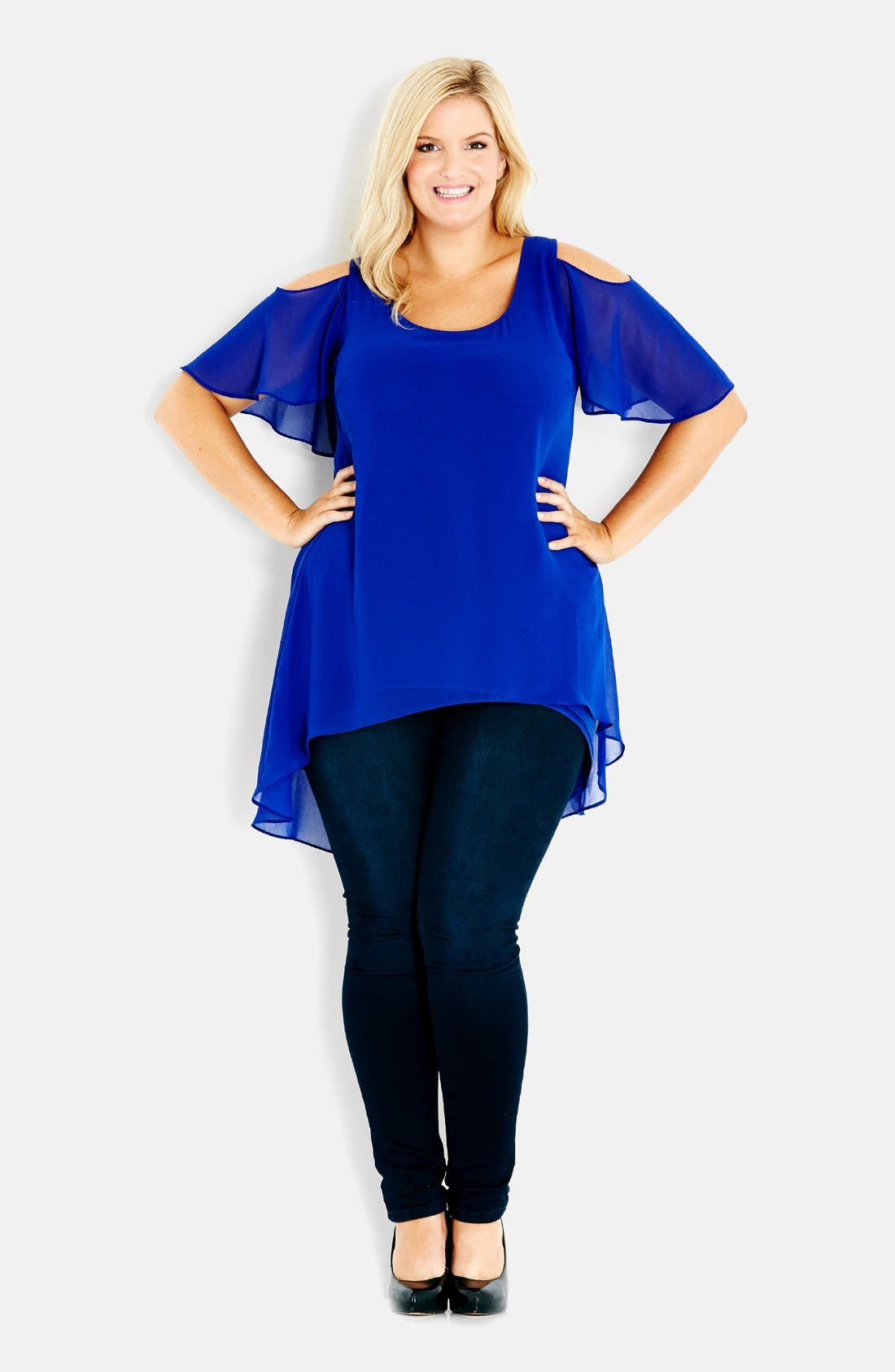 Alternate Image 1 Selected - City Chic Cold Shoulder High/Low Tunic Top (Plus Size)