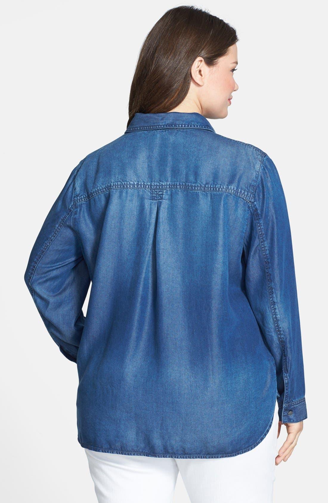 Alternate Image 2  - Sejour Tencel® Chambray Shirt (Plus Size)