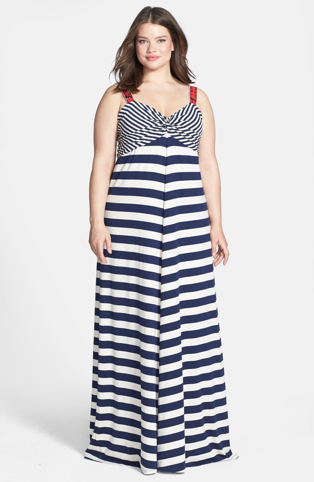 Alternate Image 1 Selected - Lucky Brand Chevron Stripe Maxi Dress (Plus Size)