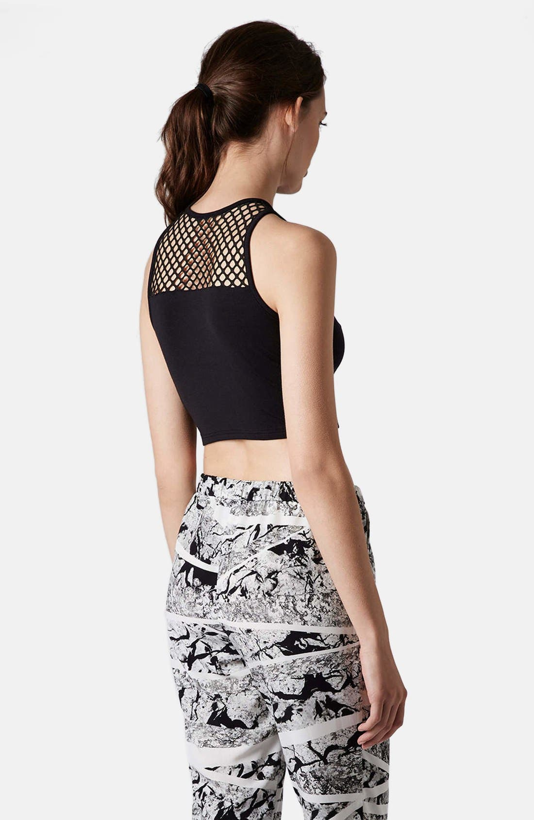 Alternate Image 2  - Topshop Mesh Yoke Crop Tank