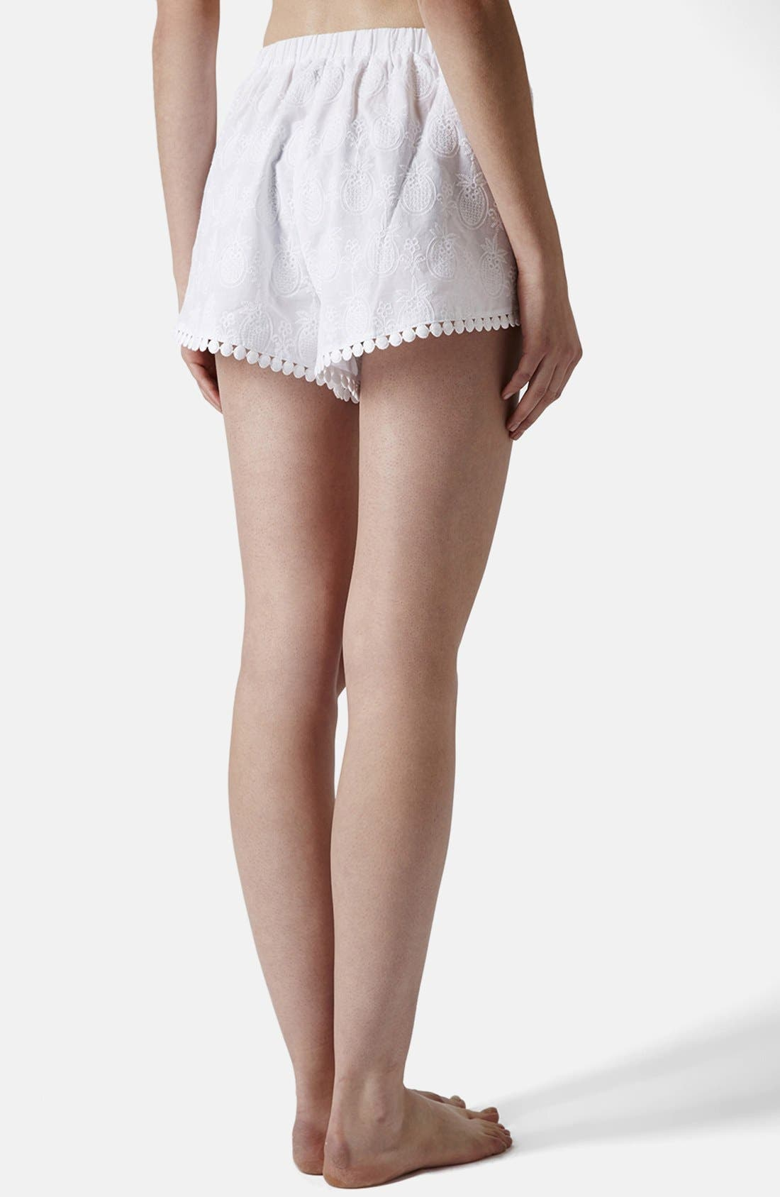 Alternate Image 2  - Topshop Pineapple Embroidered Cotton Shorts
