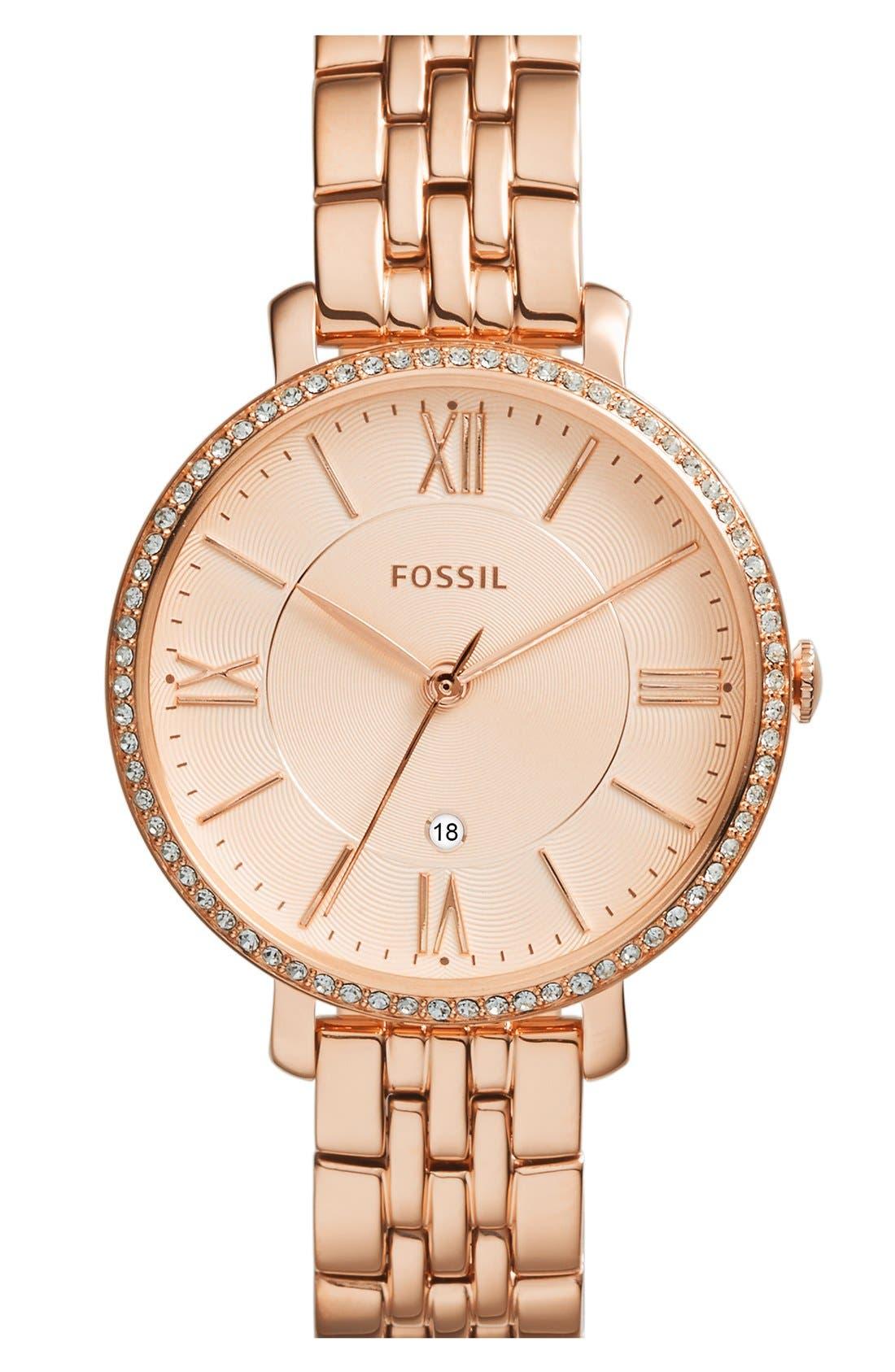 Main Image - Fossil 'Jacqueline' Crystal Bezel Bracelet Watch, 36mm (Nordstrom Exclusive)