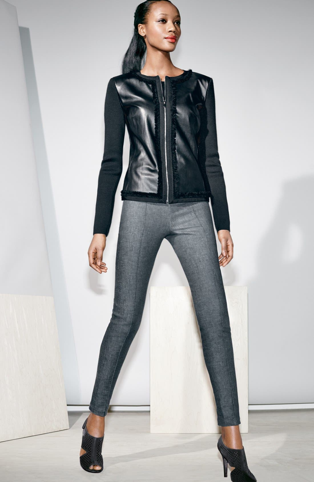 Alternate Image 4  - St. John Collection Leather & Milano Knit Jacket with Organza Trim