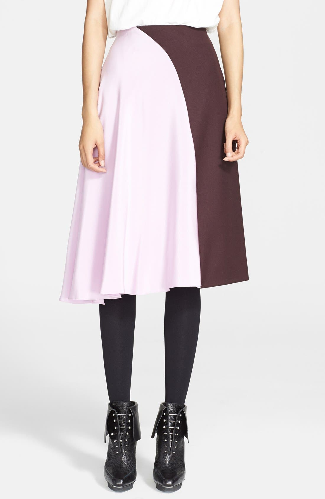 Main Image - 3.1 Phillip Lim 'Horizon' Wool & Crêpe de Chine Skirt