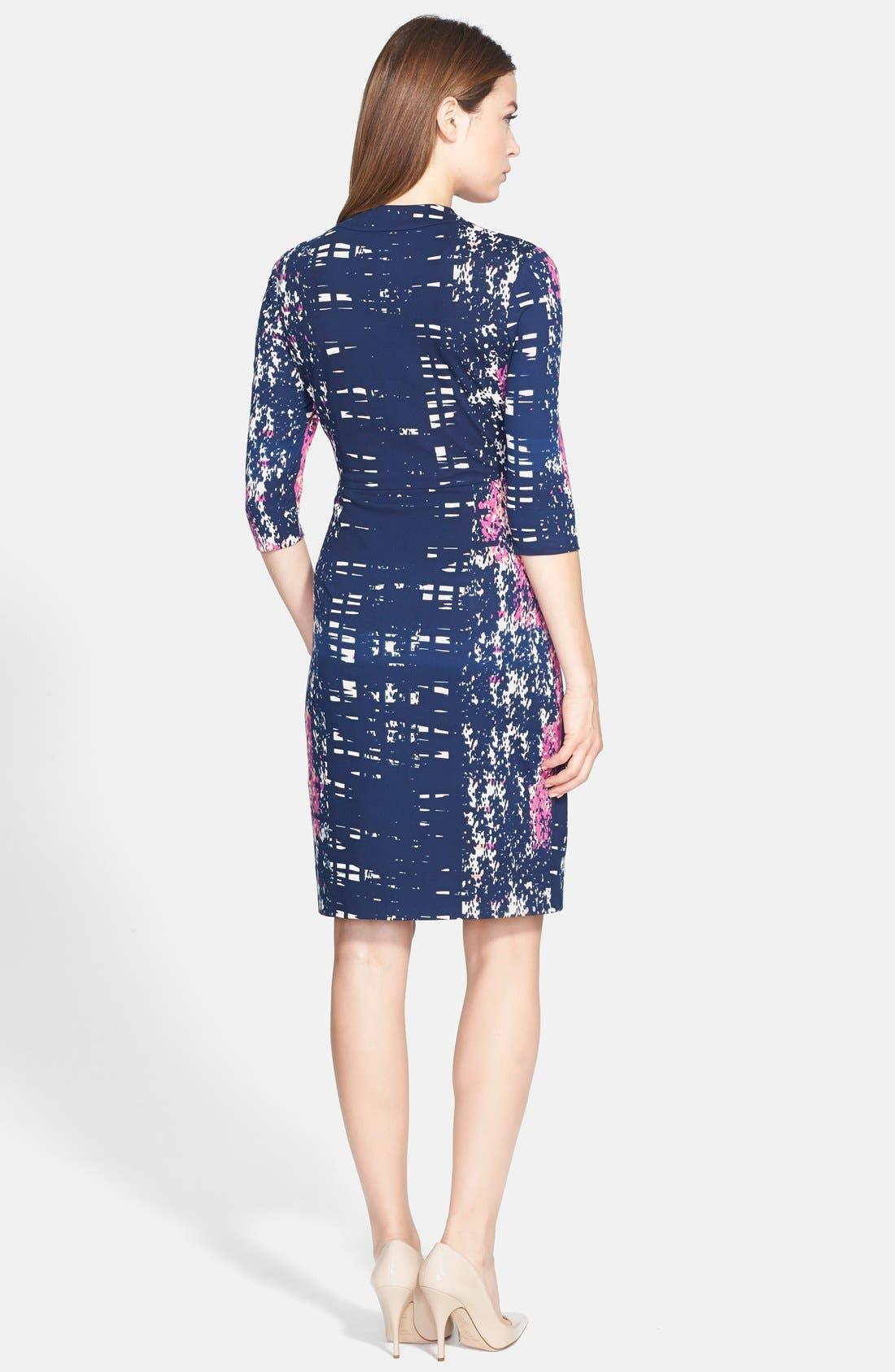 Alternate Image 2  - Donna Ricco Print Twist Front Jersey Dress (Regular & Petite)