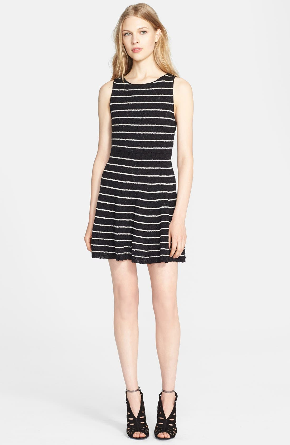 Main Image - Alice + Olivia 'Monah' Stripe Fit & Flare Sweater Dress