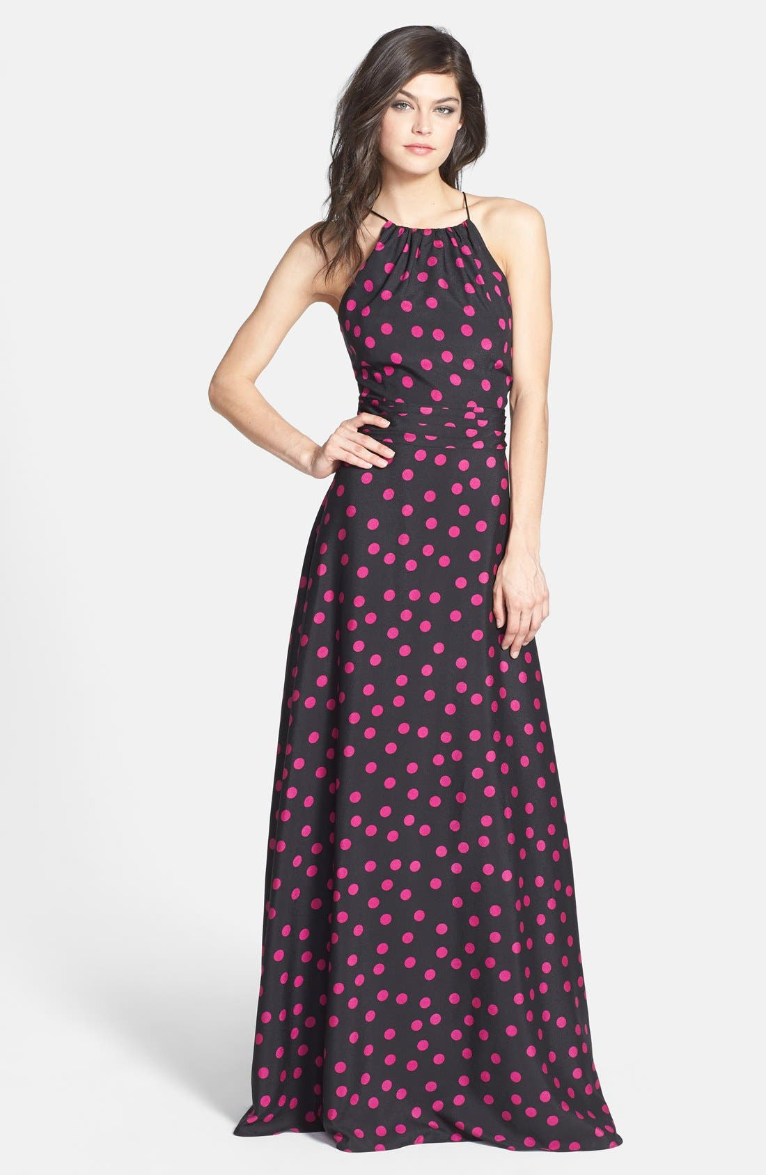 Main Image - Hailey by Adrianna Papell Polka Dot Halter Gown