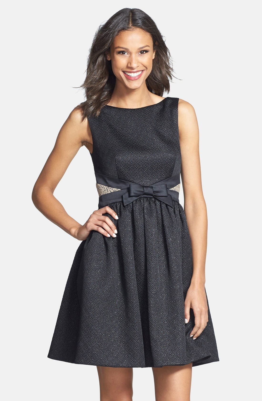 Main Image - ERIN erin fetherston Bow Detail Jacquard Fit & Flare Dress