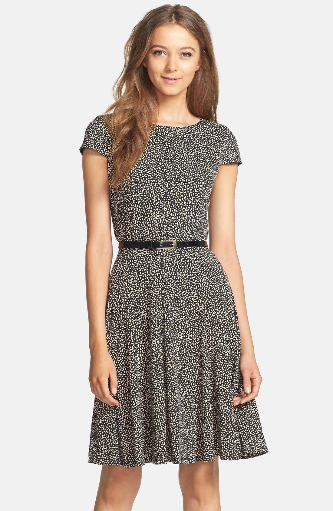 Main Image - Eliza J Print Belted Fit & Flare Dress (Petite)
