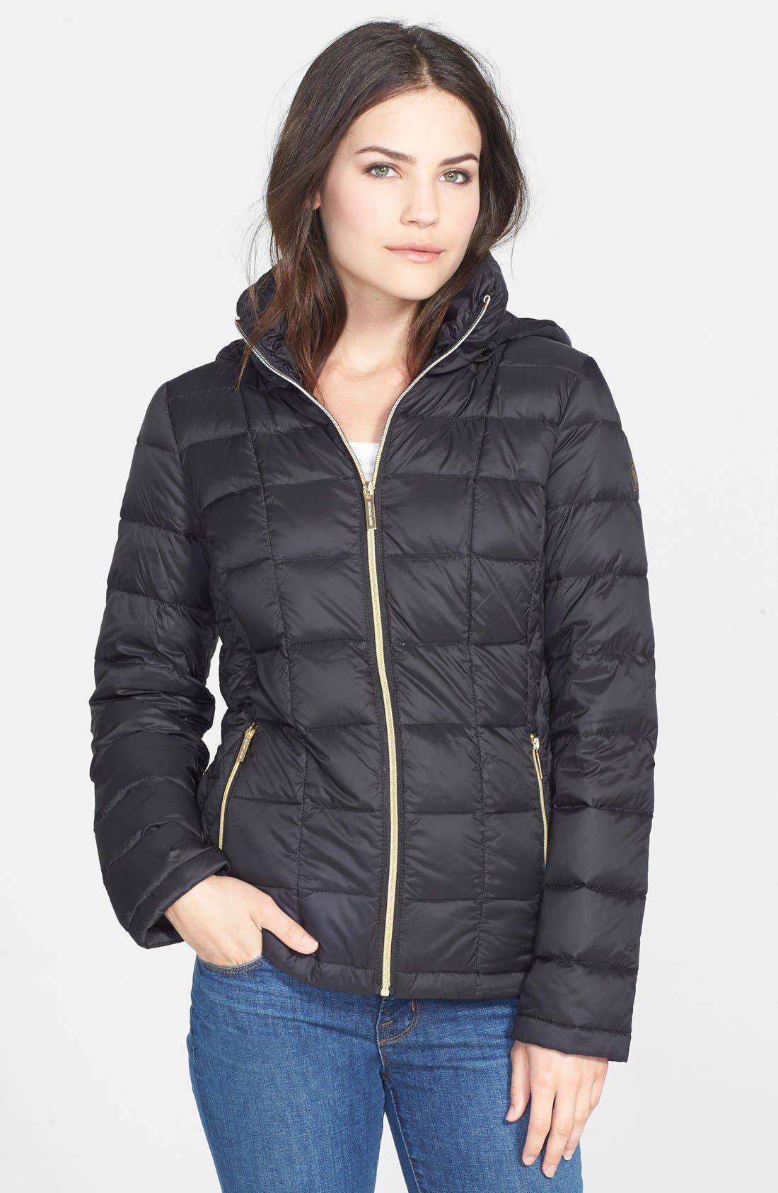 Alternate Image 1 Selected - MICHAEL Michael Kors Front Zip Hooded Down Jacket (Online Only)