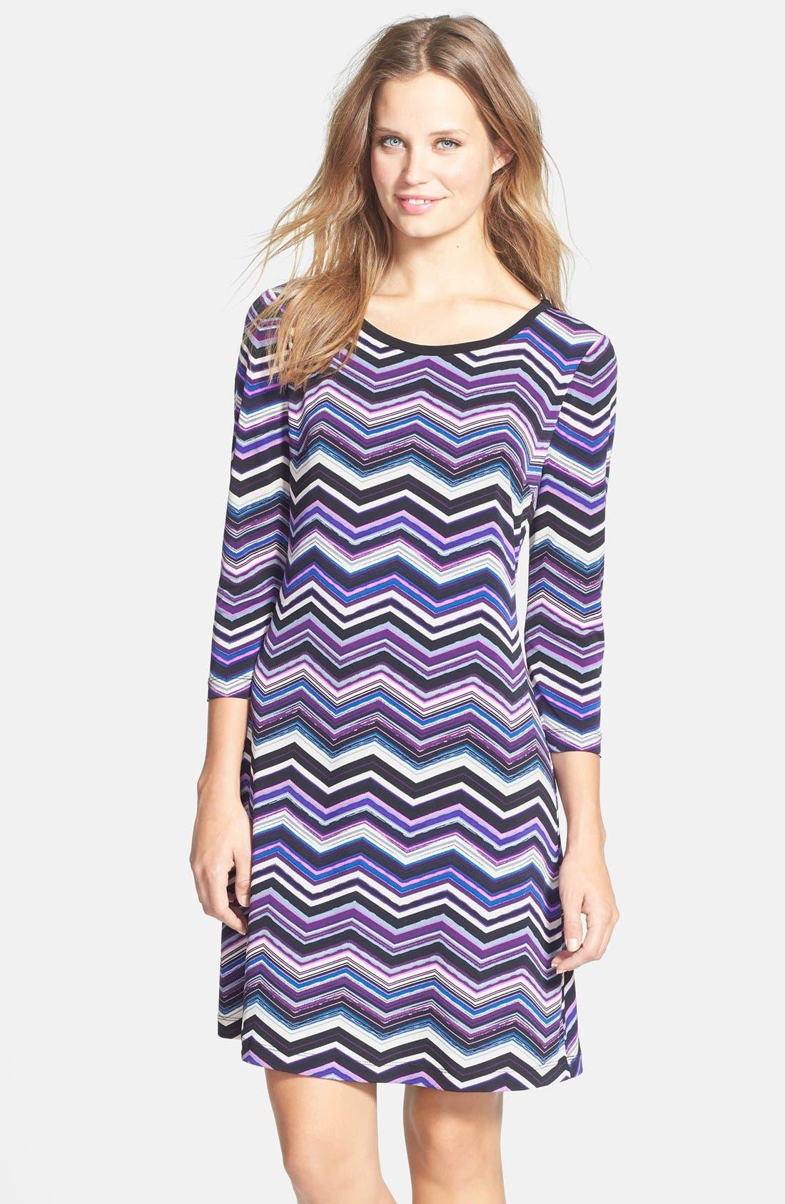 Alternate Image 1 Selected - Eliza J Zigzag Print A-Line Dress (Petite)