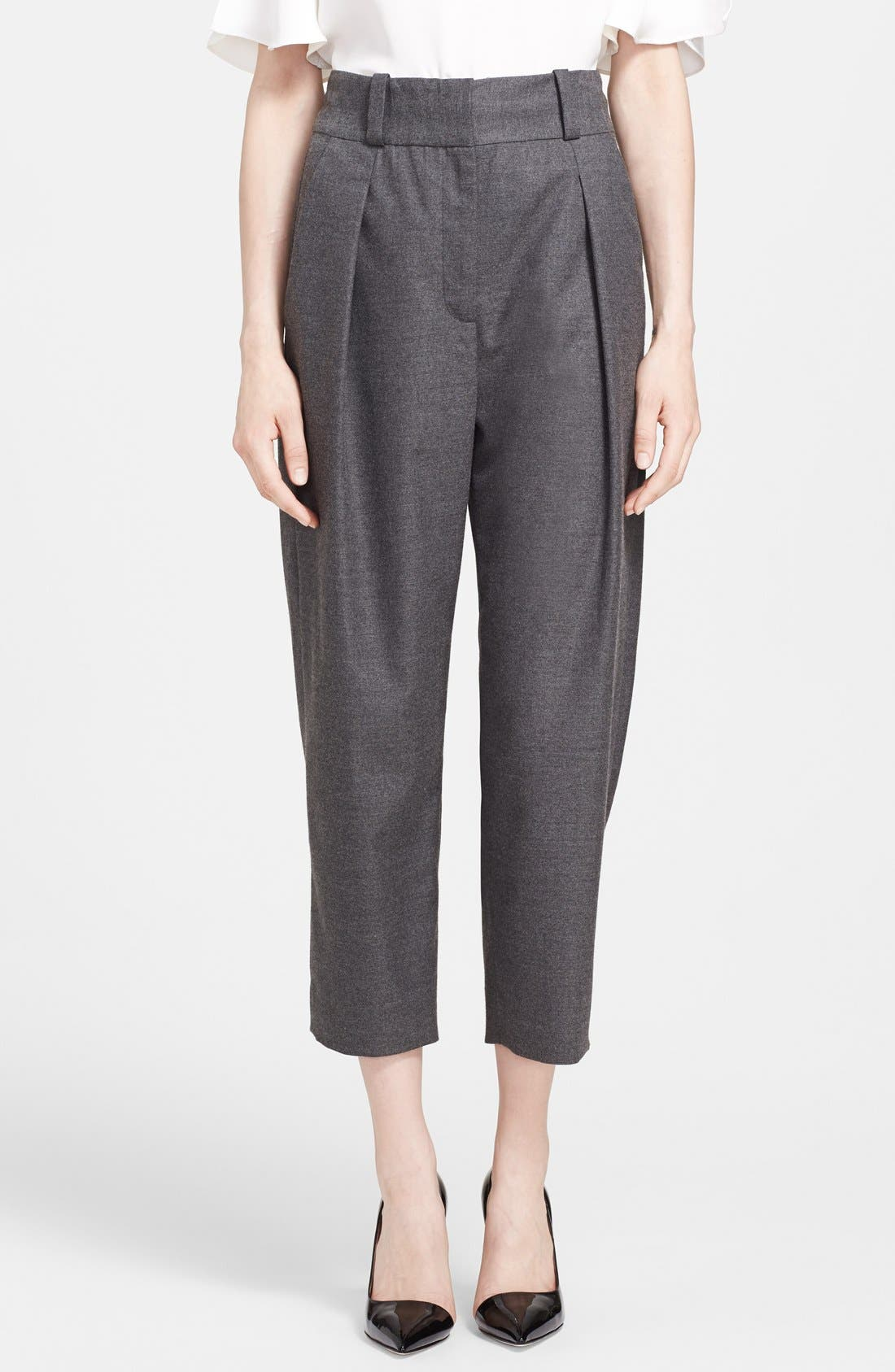 Alternate Image 1 Selected - L'AGENCE Pleated Crop Trousers