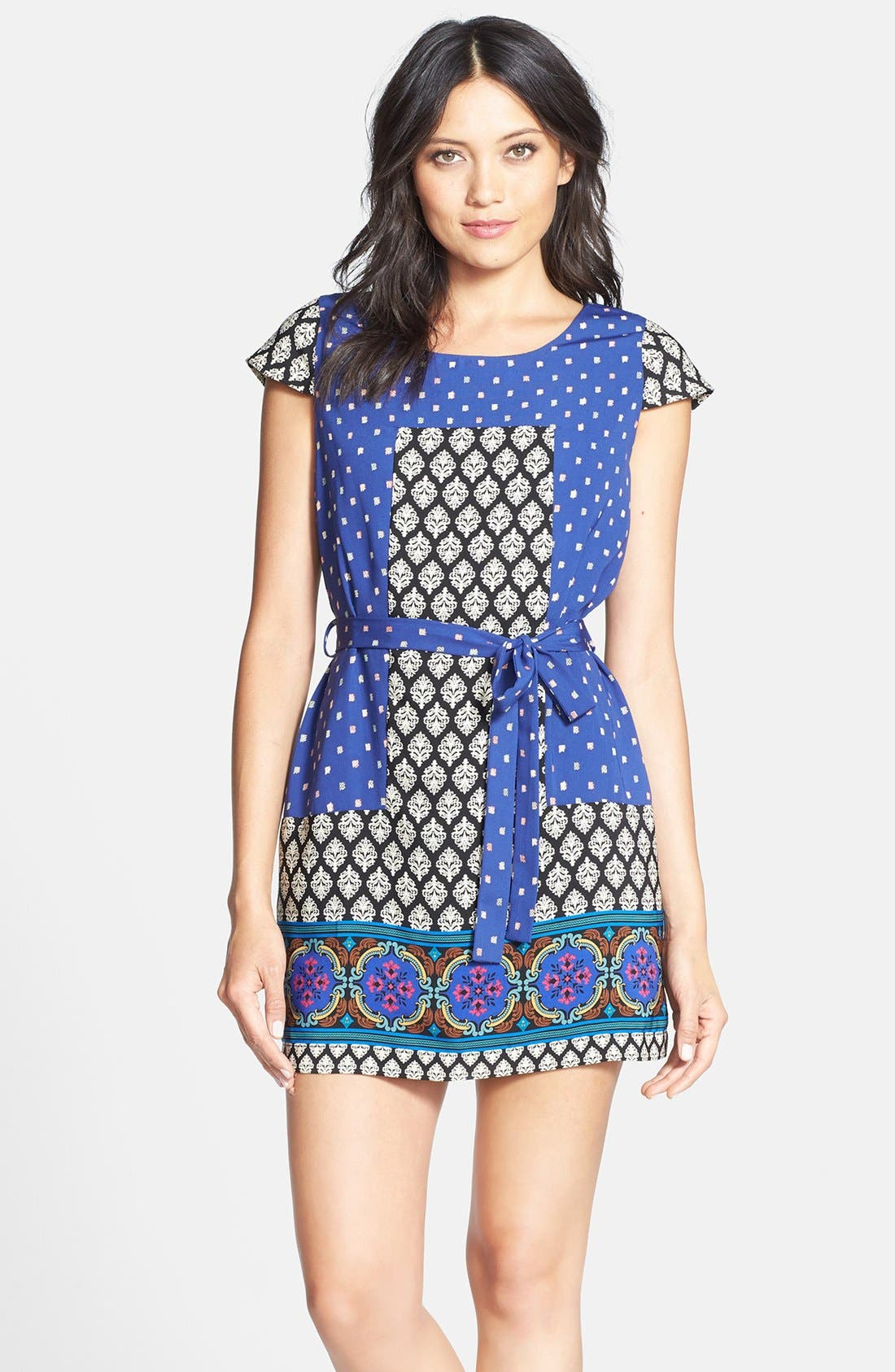 Alternate Image 1 Selected - Collective Concepts Short Sleeve Print Shift Dress