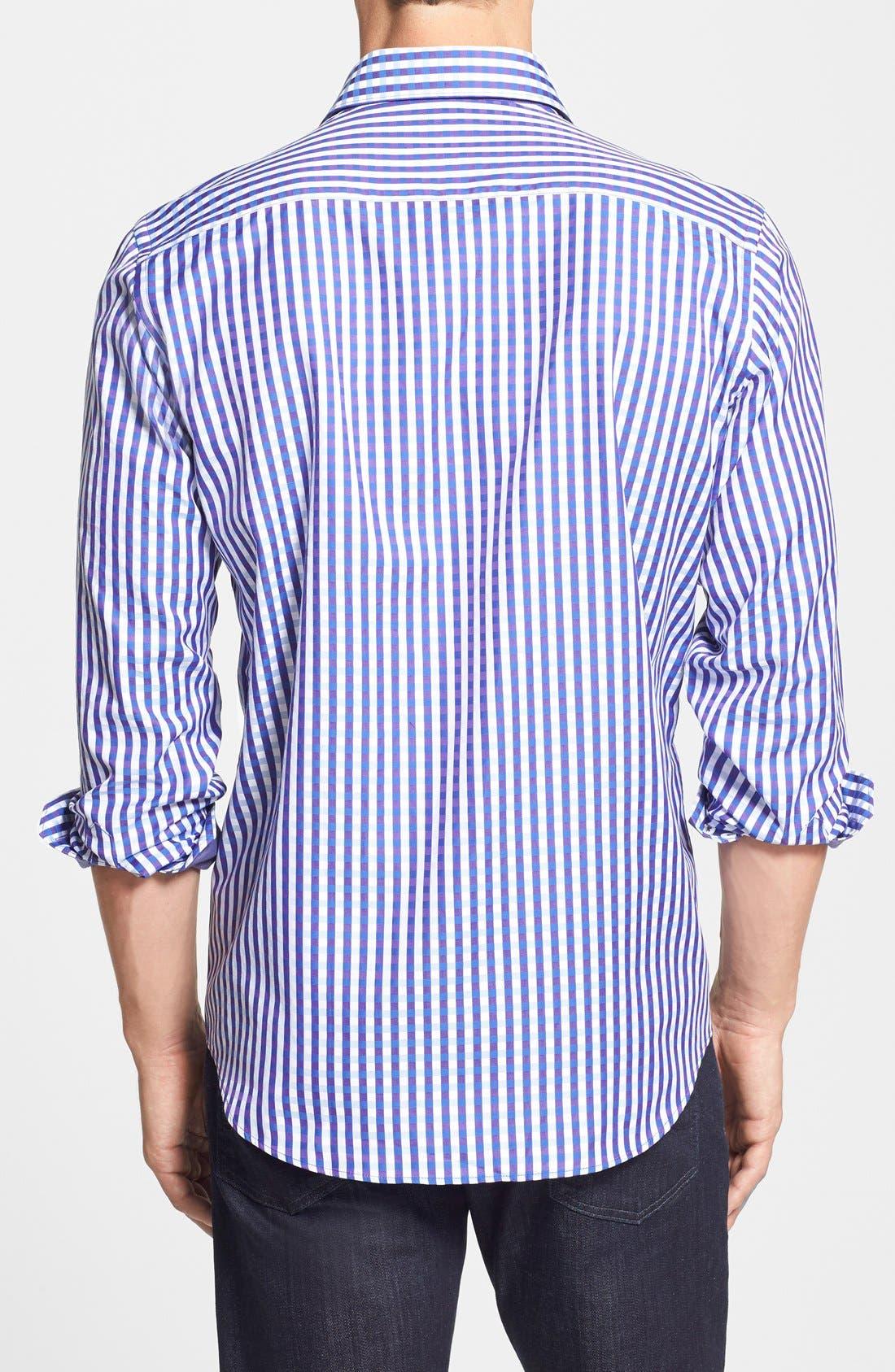 Alternate Image 2  - Bugatchi Classic Fit Plaid Sport Shirt (Tall)