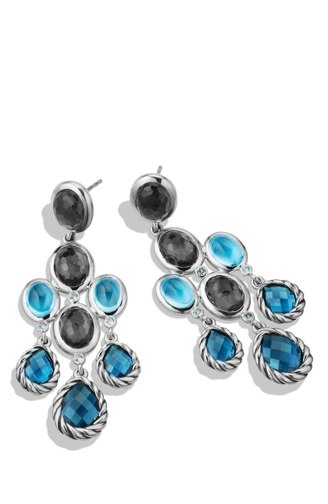 Alternate Image 2  - David Yurman 'Mosaic - Color Classic' Chandelier Earrings with Hampton Blue Topaz, Black Orchid & Gray Sapphires