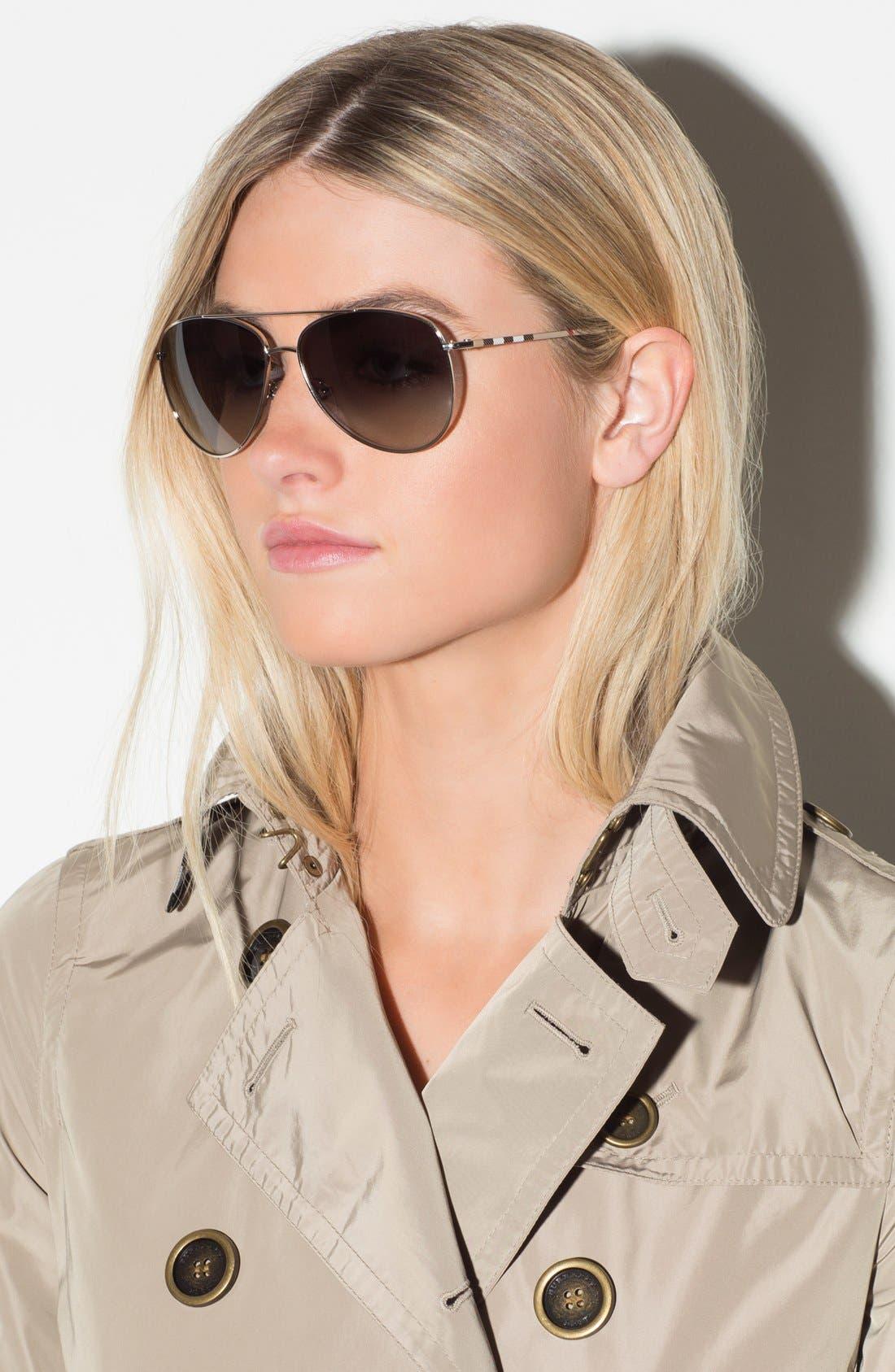 Alternate Image 3  - Burberry 'House Check Foil' 57mm Aviator Sunglasses