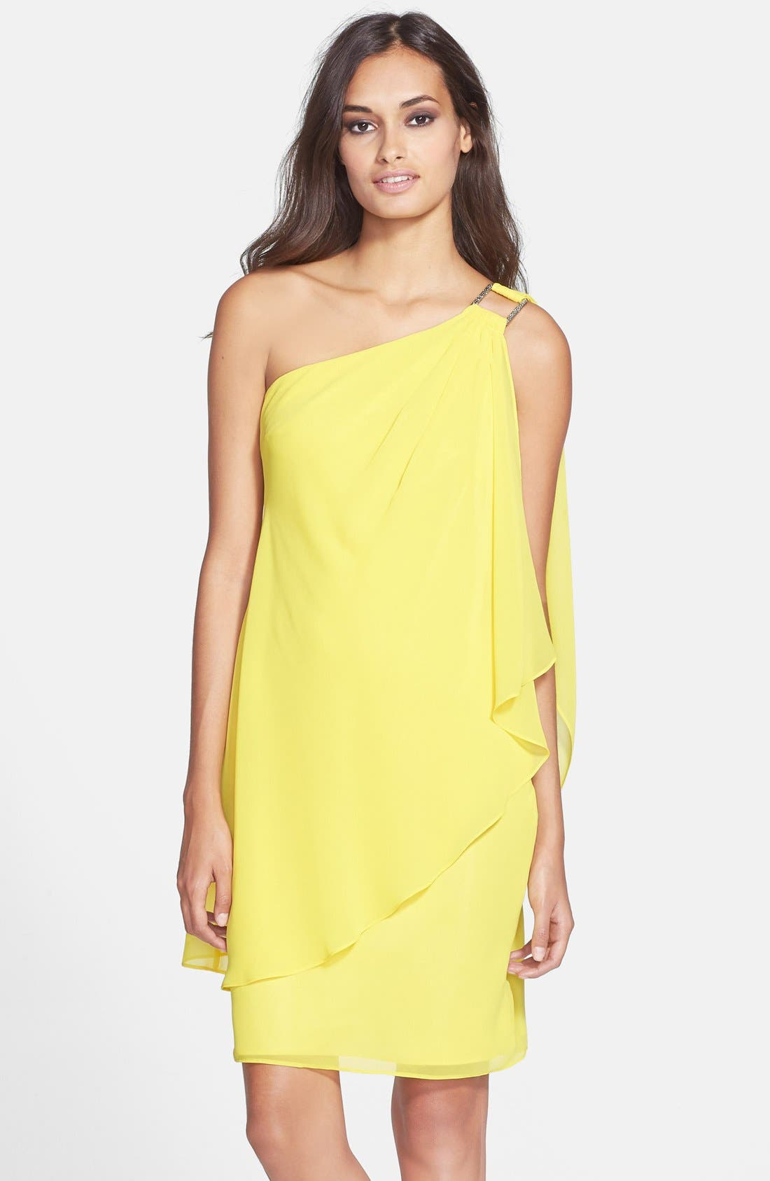Main Image - Laundry by Shelli Segal One-Shoulder Drape Chiffon Dress
