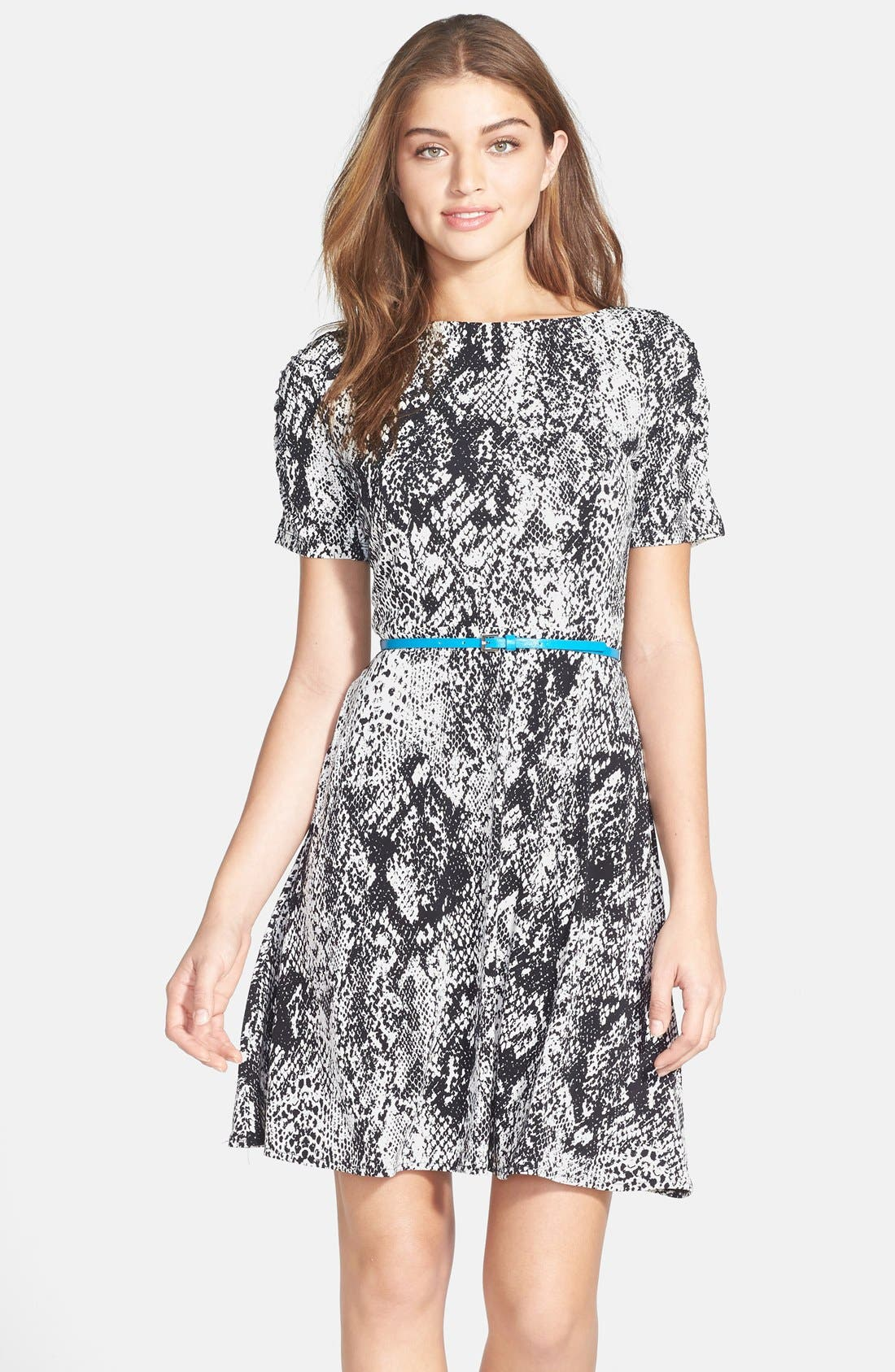 Alternate Image 1 Selected - Donna Morgan Snakeskin Print Jersey Fit & Flare Dress