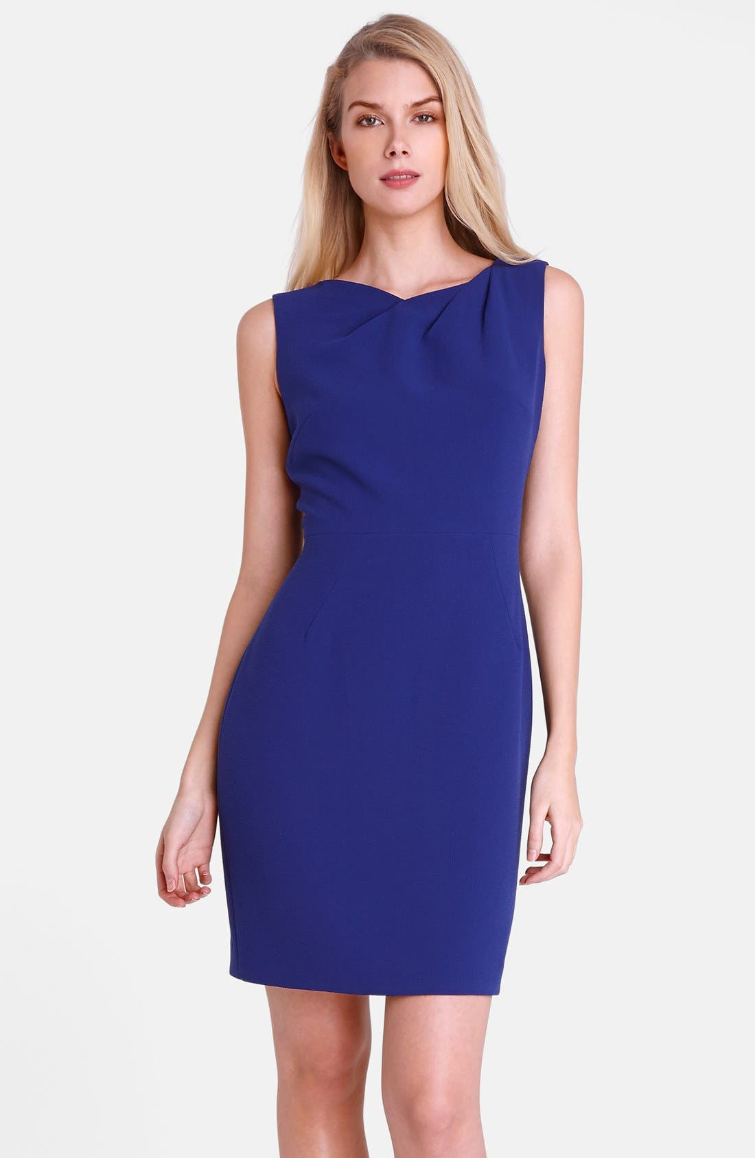 Main Image - Tahari 'Mike' Pleated Neck Crepe Sheath Dress