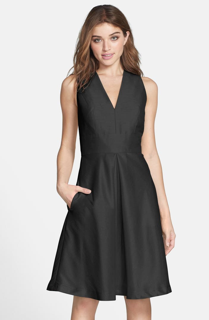 Alfred sung v neck dupioni cocktail dress nordstrom for What to wear over a sleeveless dress to a wedding