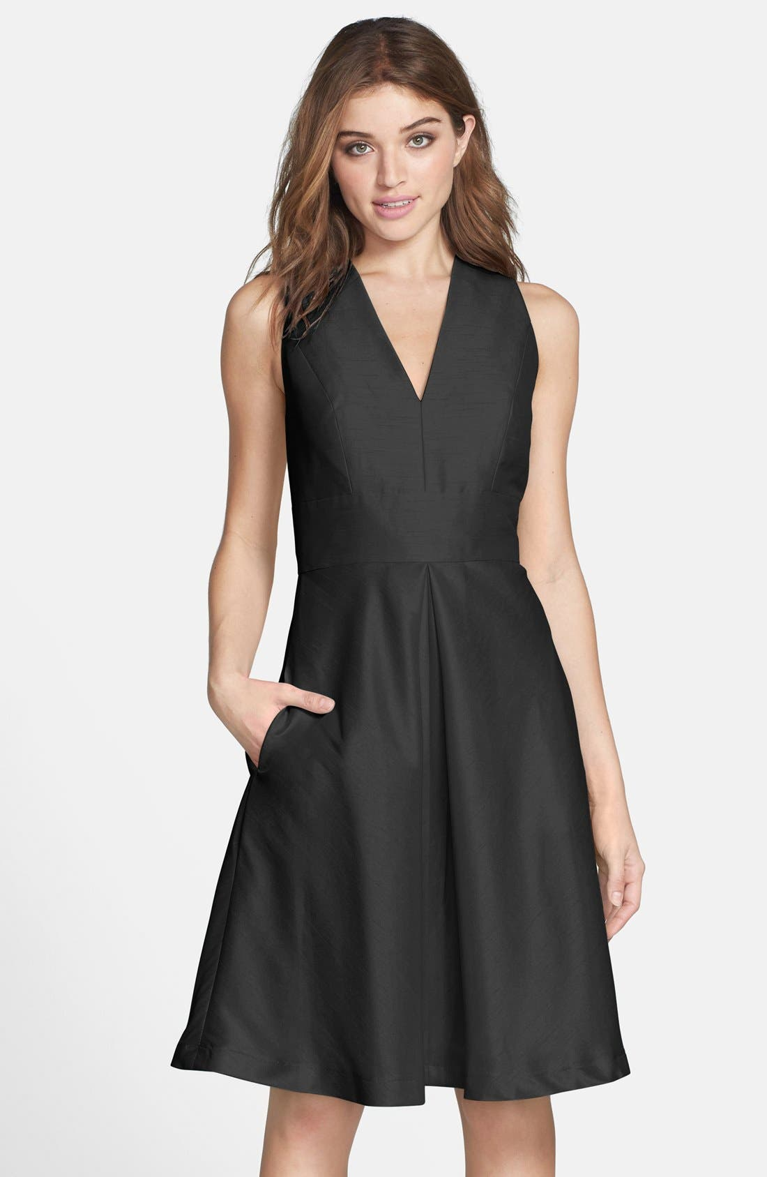 Alfred Sung V-Neck Dupioni Cocktail Dress
