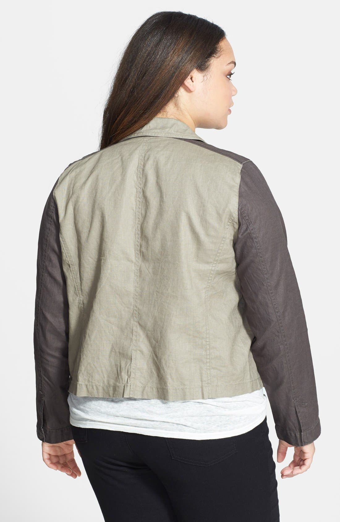 Alternate Image 2  - Eileen Fisher Coated Organic Linen Asymmetrical Jacket (Plus Size)