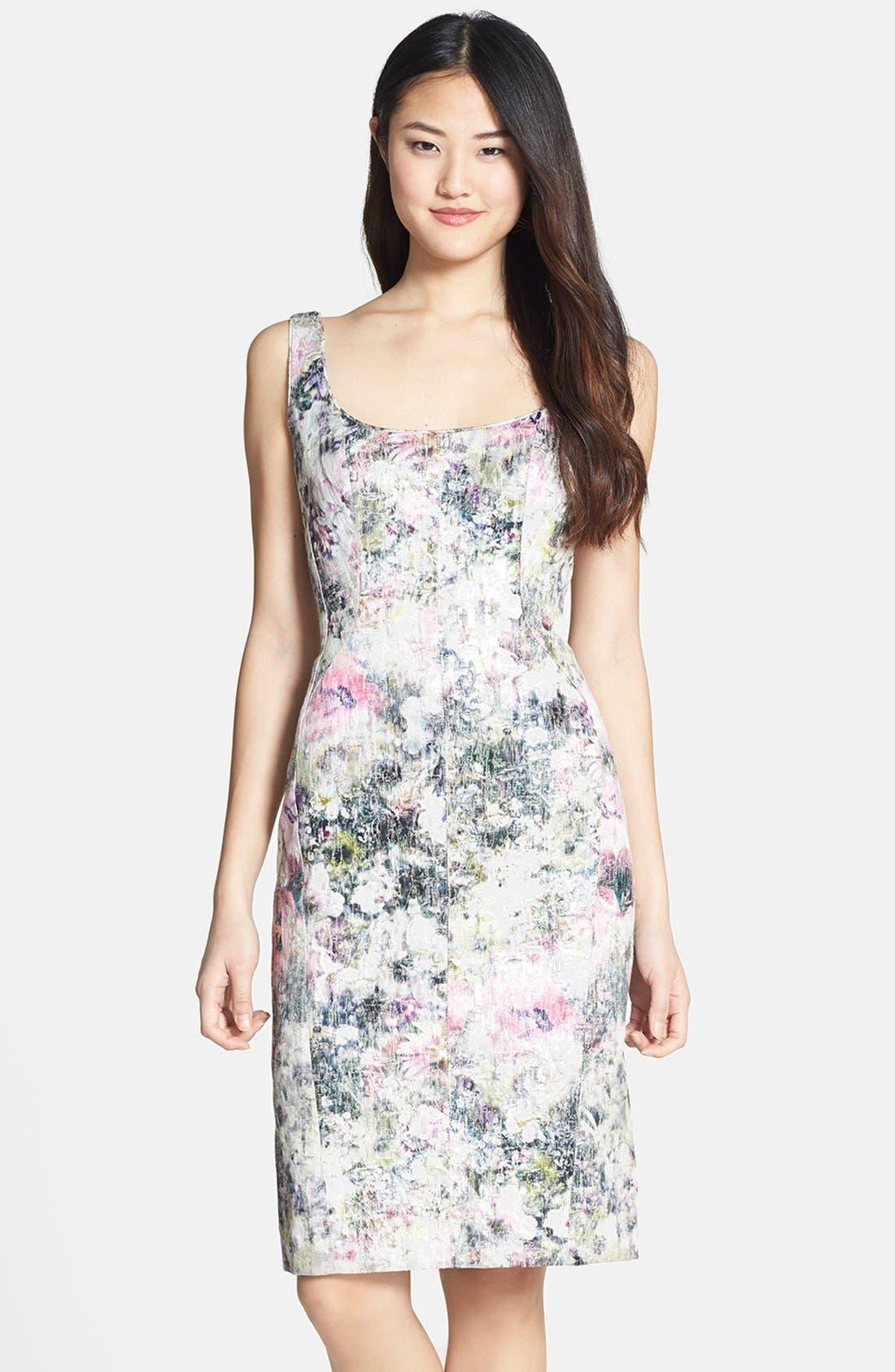 Alternate Image 1 Selected - Maggy London Print Brocade Sheath Dress