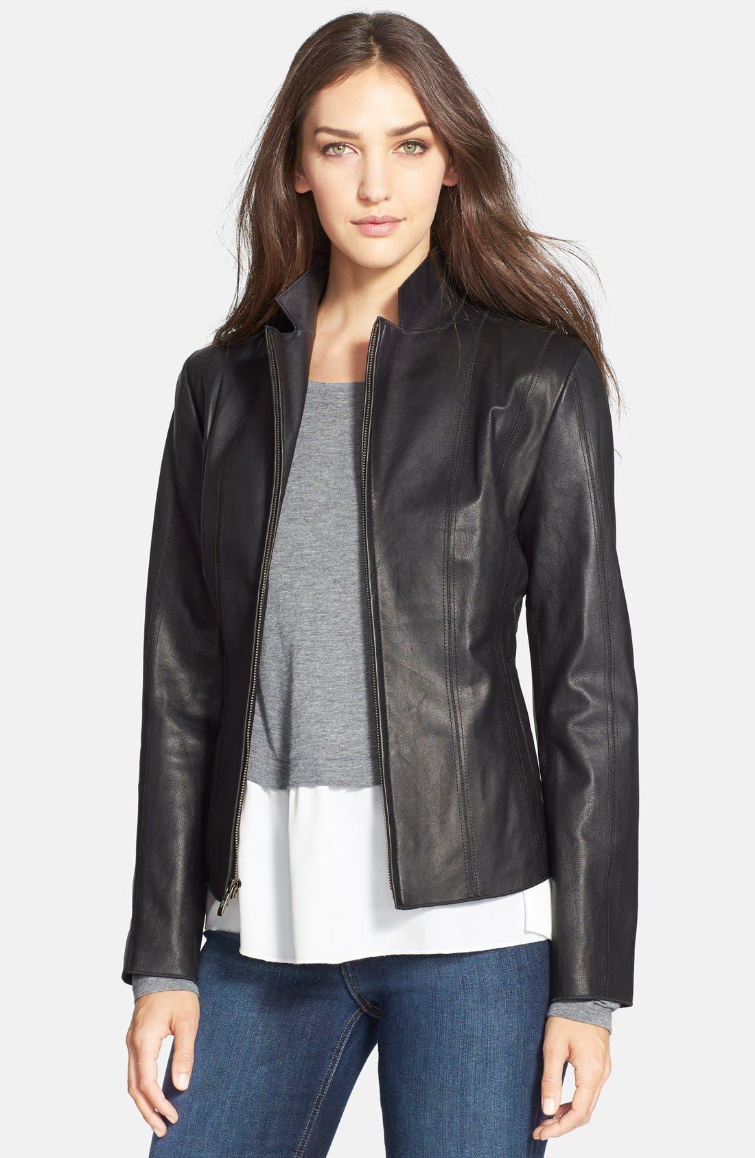 Main Image - Cole Haan Notch Collar Lambskin Leather Jacket (Regular & Petite)