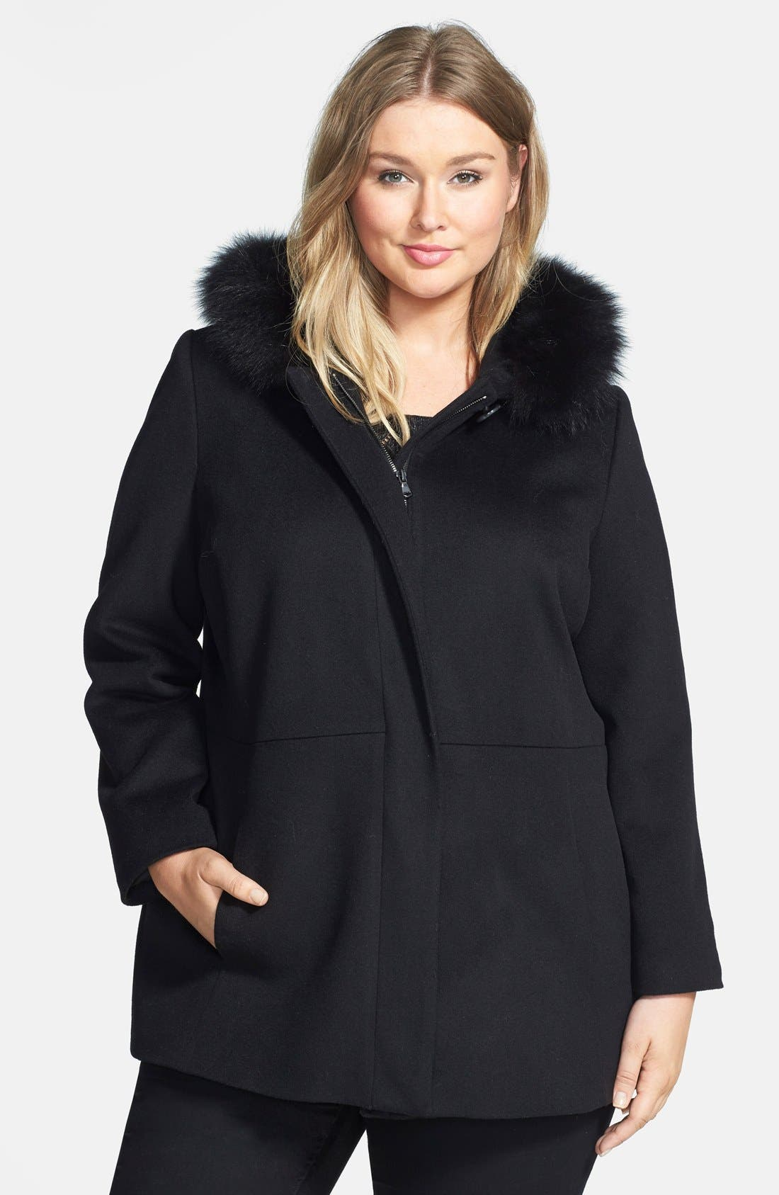 SACHI Genuine Fox Fur Trim Hooded Wool Blend